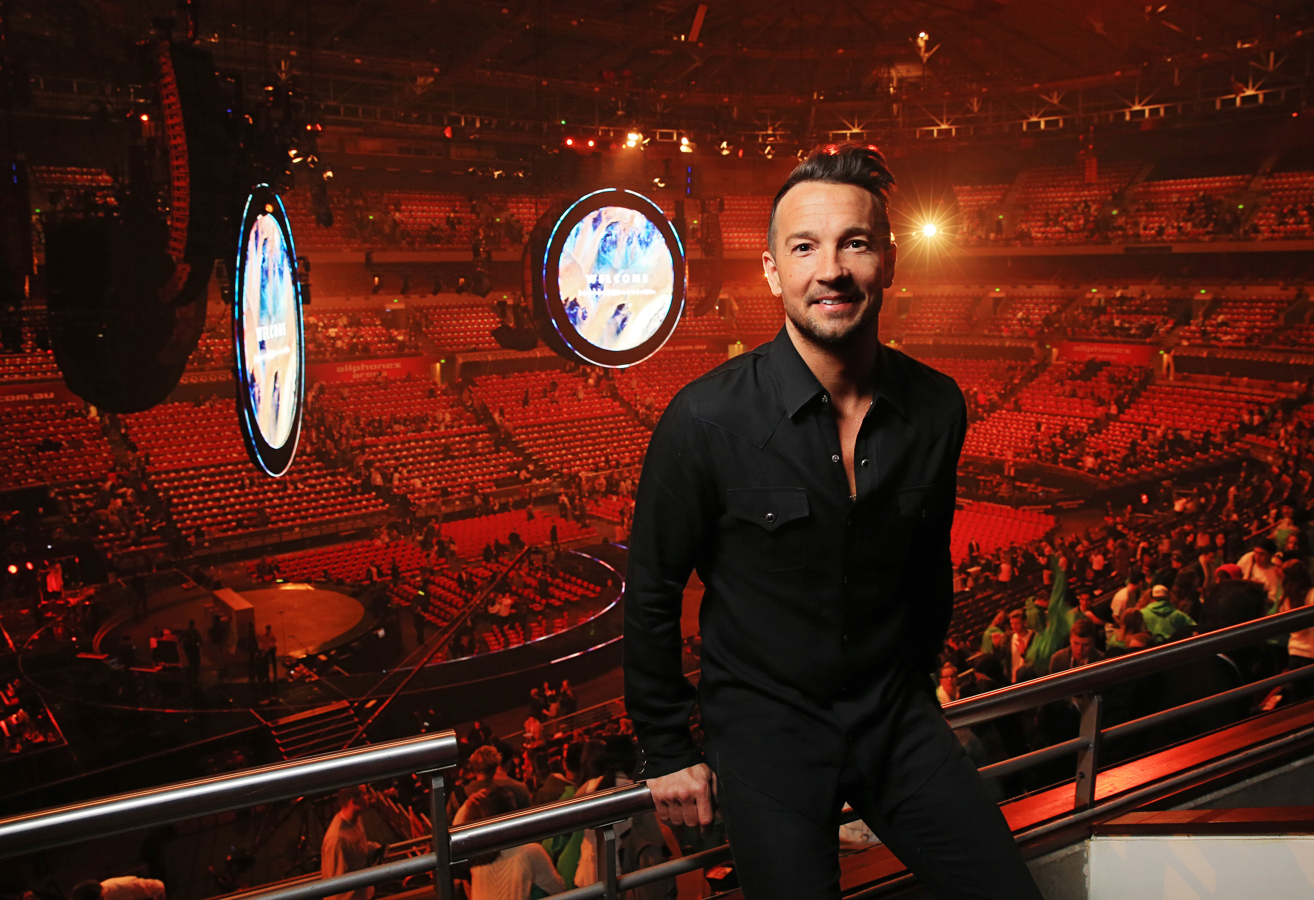 Hillsong NYC Pastor Carl Lentz pictured backstage at the Hillsong Conference at Allphones Arena in Sydney, New South Wales on July 3, 2015.