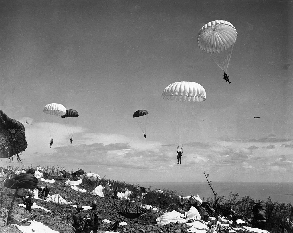 503rd Parachute Regiment of the U.S. landing on Corregidor Island in the Philippines in February 1945.