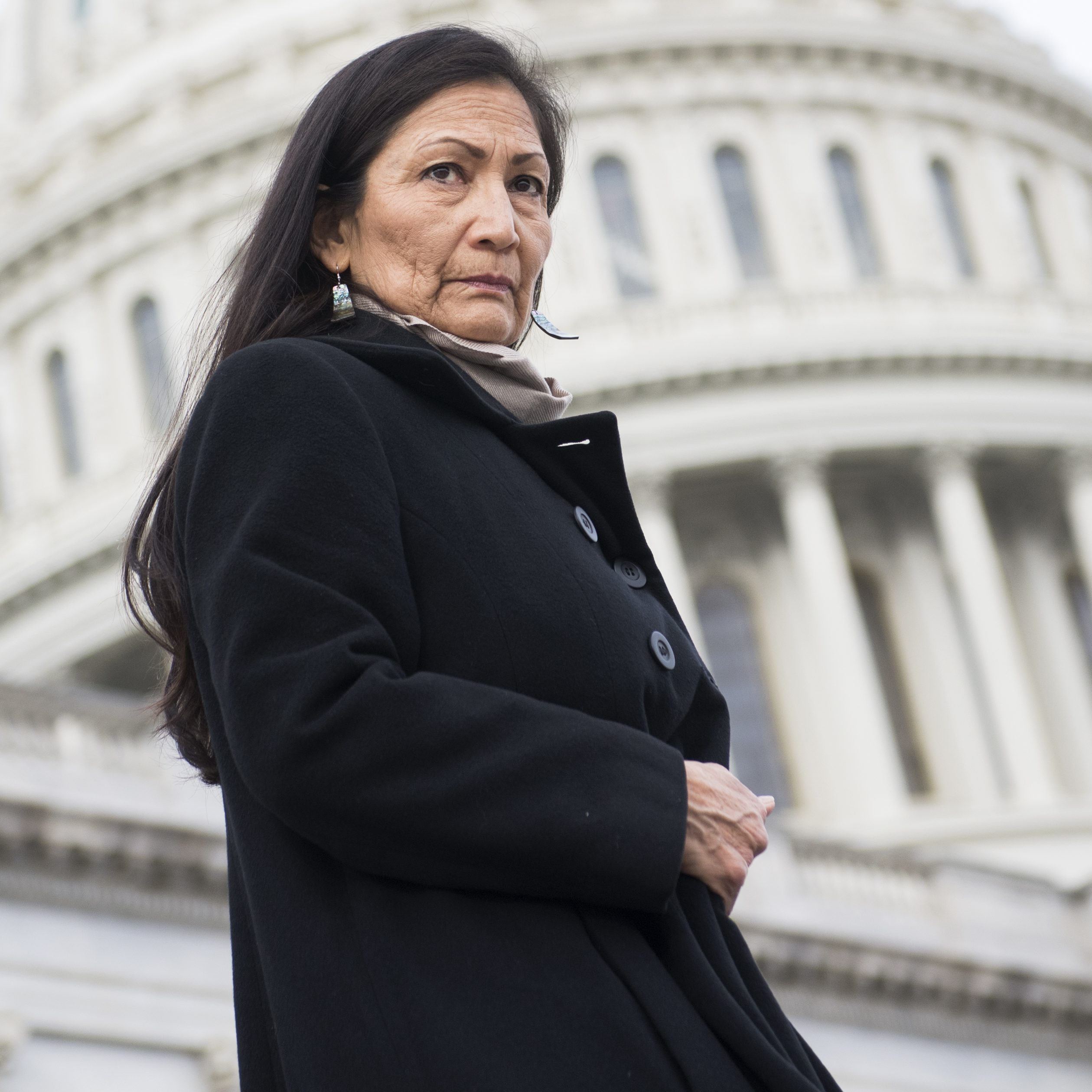 Rep. Deb Haaland, D-N.M., on the Capitol steps in Washington, D.C. on Jan. 4, 2019.