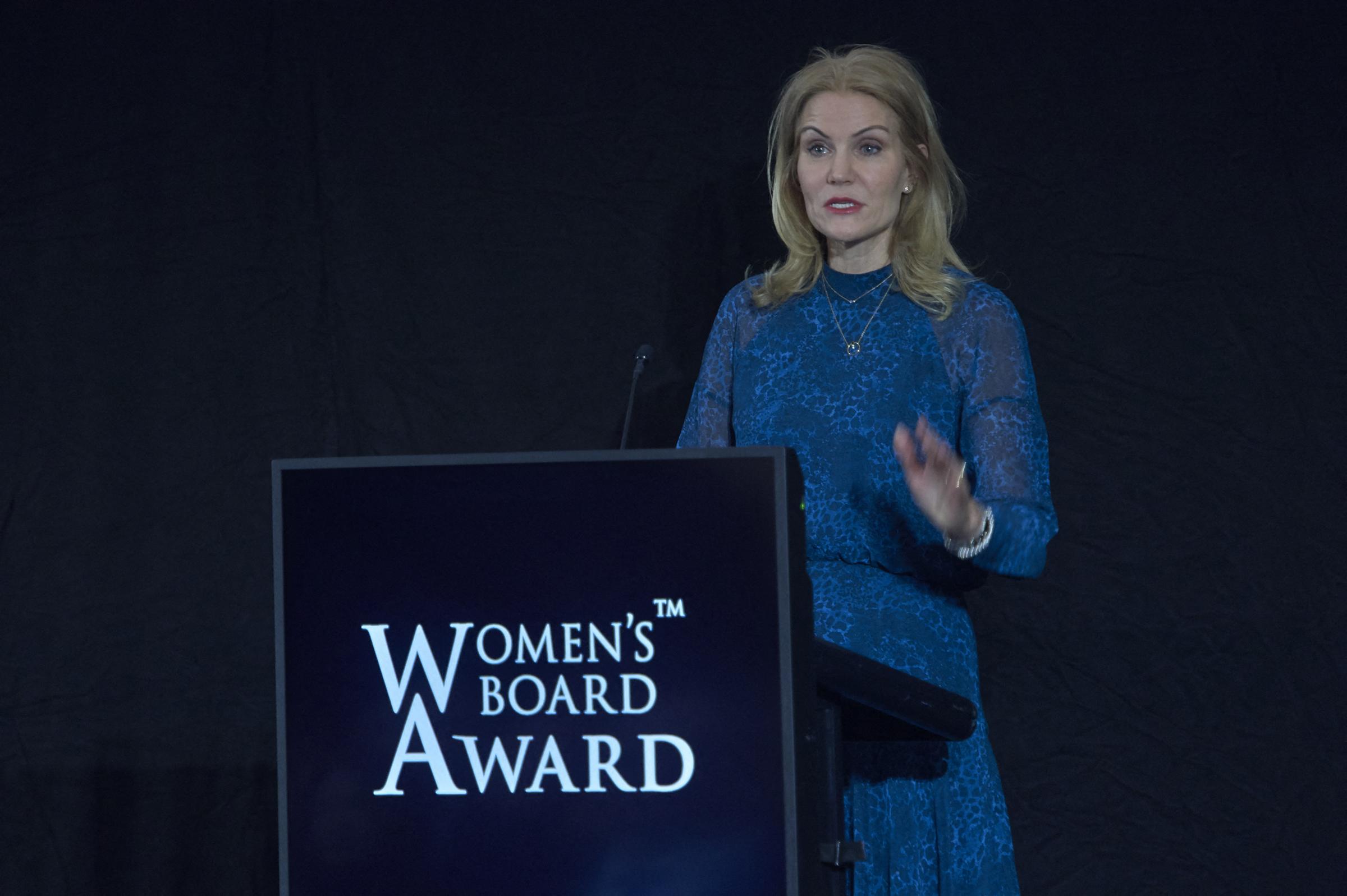 Former Danish Prime Minister Helle Thorning-Schmidt delivers her speech at Women's Board Award in Copenhagen, on Jan. 31, 2020.