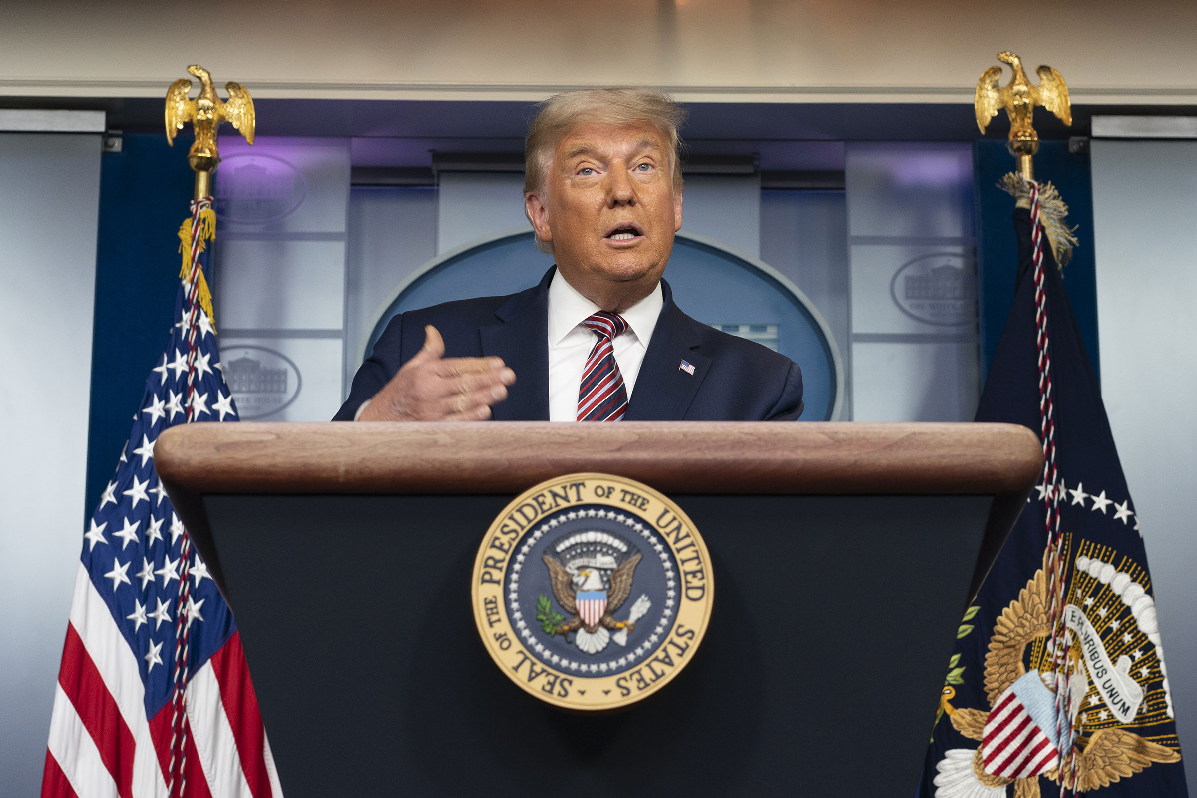 President Donald Trump speaks during a news conference in the Press Briefing Room at the White House in Washington, D.C., on Nov. 5, 2020.