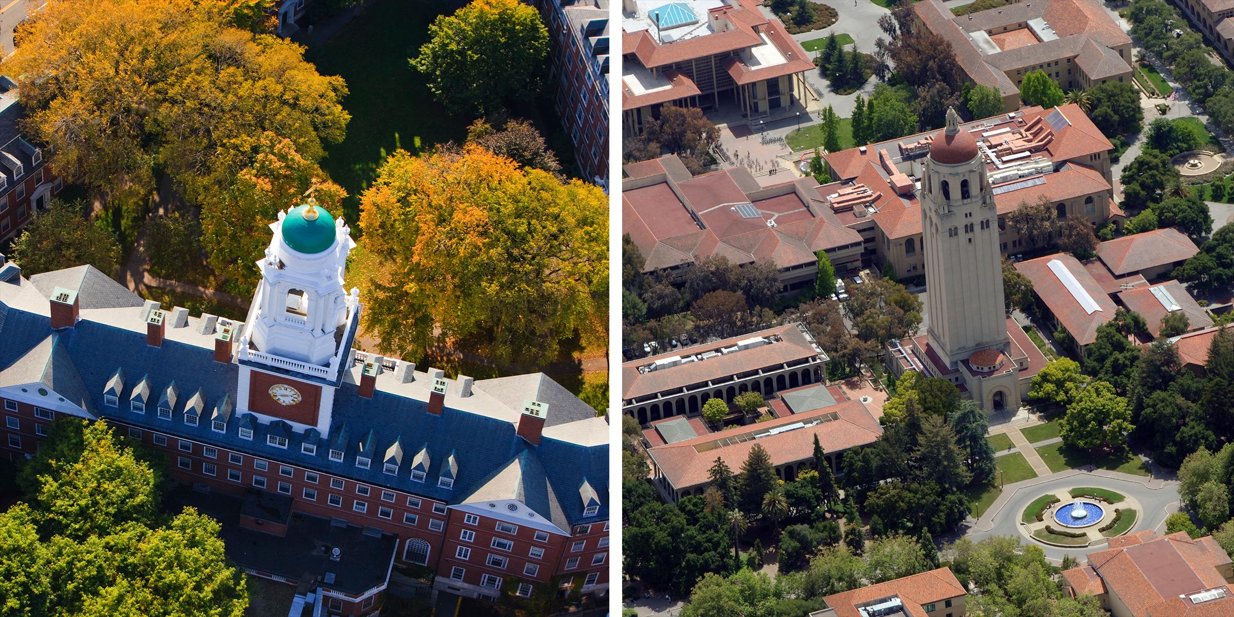 Aerial views of Harvard University and Stanford University.