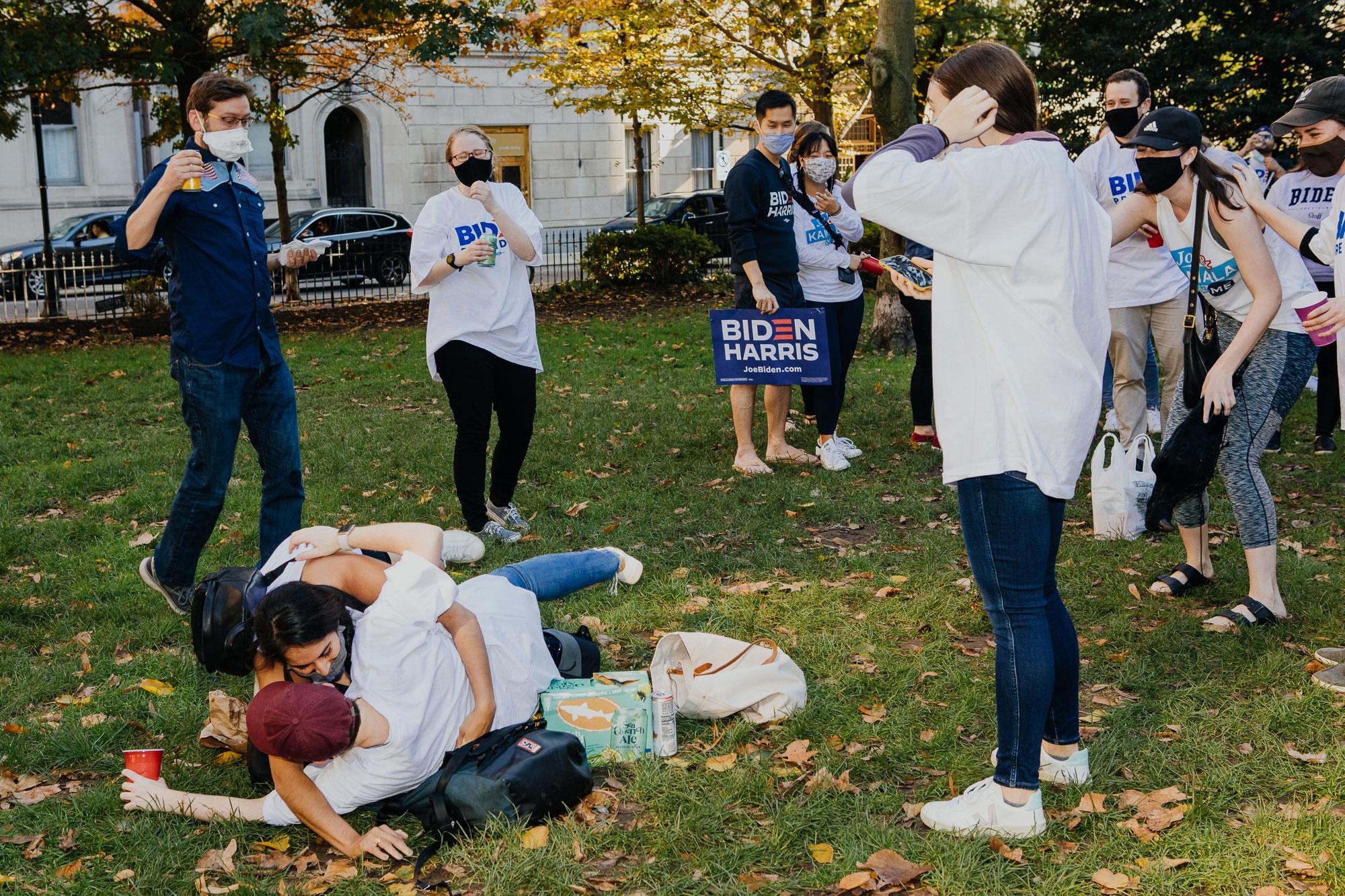 Members of President-elect Joe Biden's staff celebrate his victory in Rittenhouse Square Park in Philadelphia on Nov. 7.