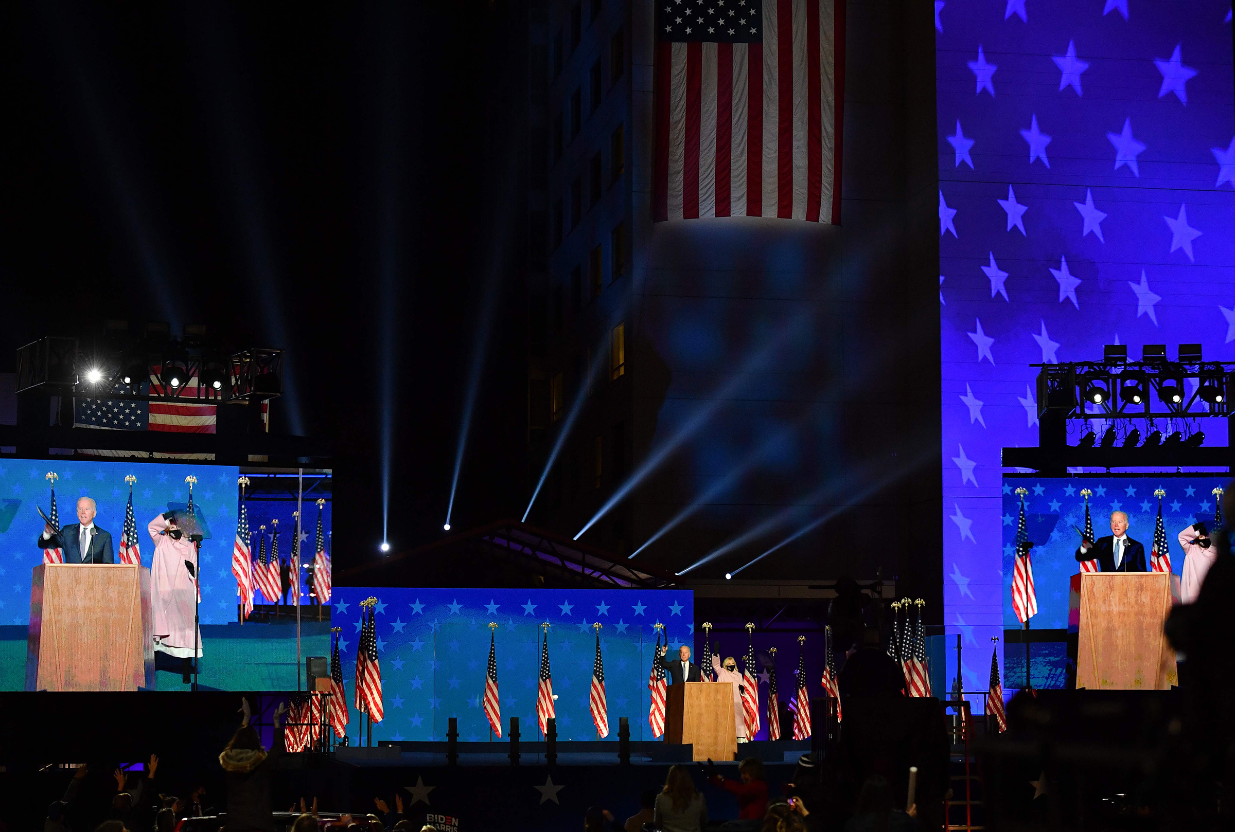 It's not my place or Donald Trump's place to declare who's won this election. That's the decision of the American people.  — Joe Biden, at the Chase Center in Wilmington, Del., just after midnight on Nov. 4.