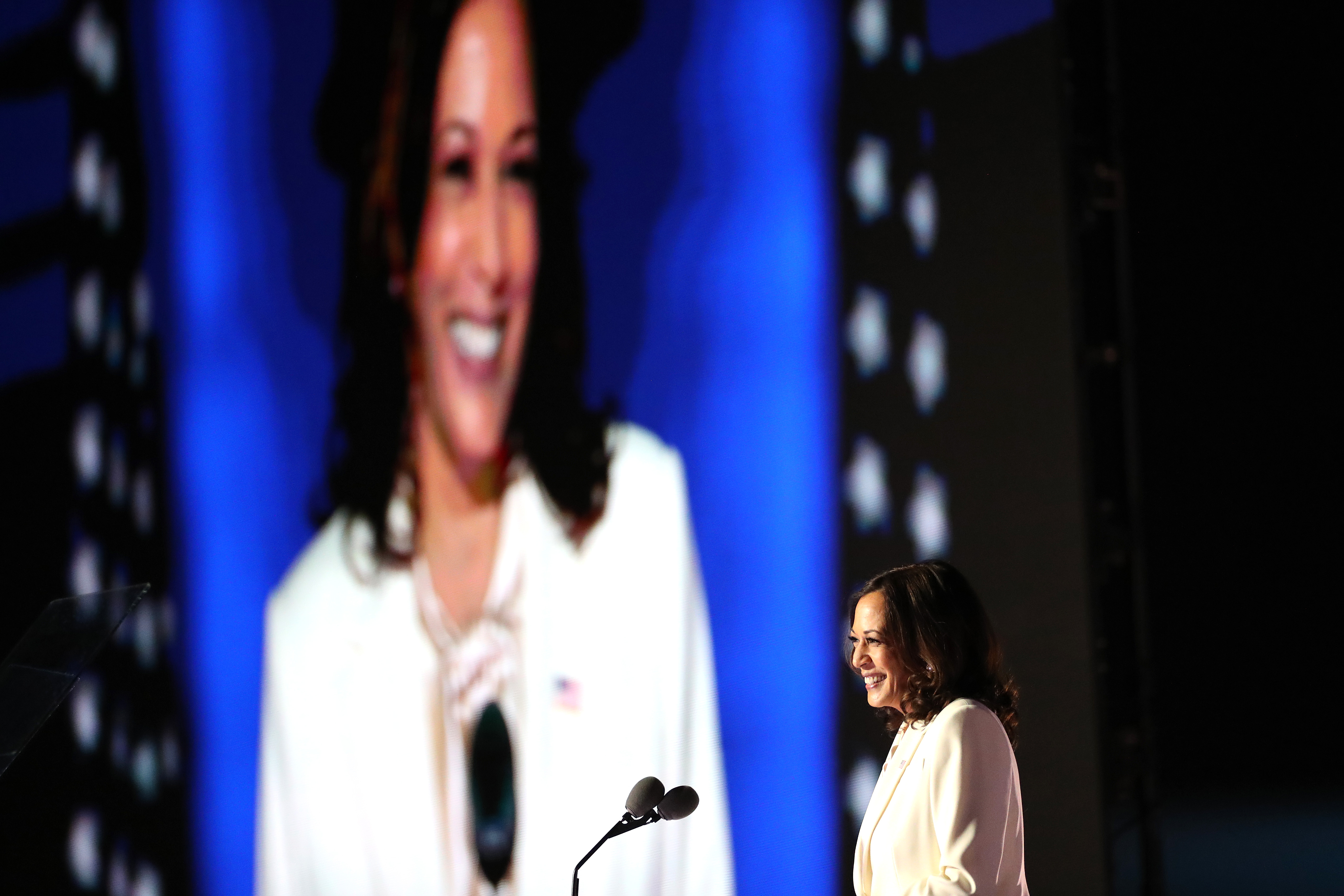 Vice President-elect Kamala Harris speaks on stage at the Chase Center in Wilmington, Del. on Nov. 07, 2020.