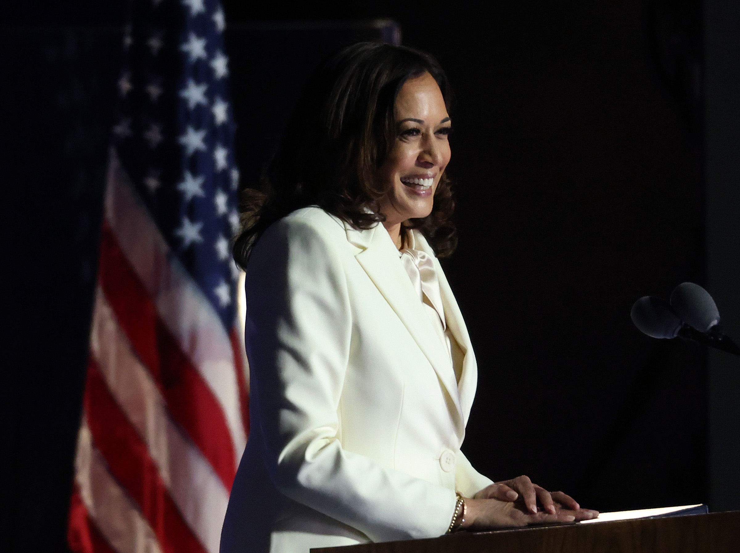 Vice President-elect Kamala Harris speaks on stage before President-elect Joe Biden's address to the nation in Wilmington, Delaware on Nov. 7, 2020.