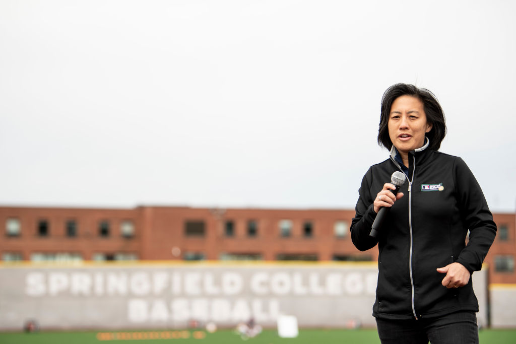 Kim Ng, Sr. VP Baseball & Softball Development for Major League Baseball and the new Miami Marlins general manager, speaks during a Major League Baseball Play Ball event on April 27, 2018 at Berry-Allen Field at Springfield College in Springfield, Mass.