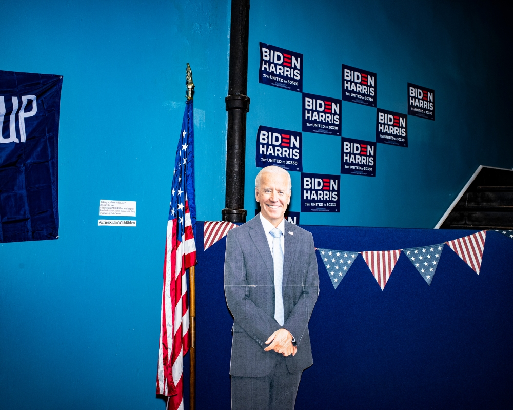 The different style of the campaigns— and of their supporters—was echoed in their Pennsylvania offices. Here, a cutout of Biden at the Erie County Democratic Party office.