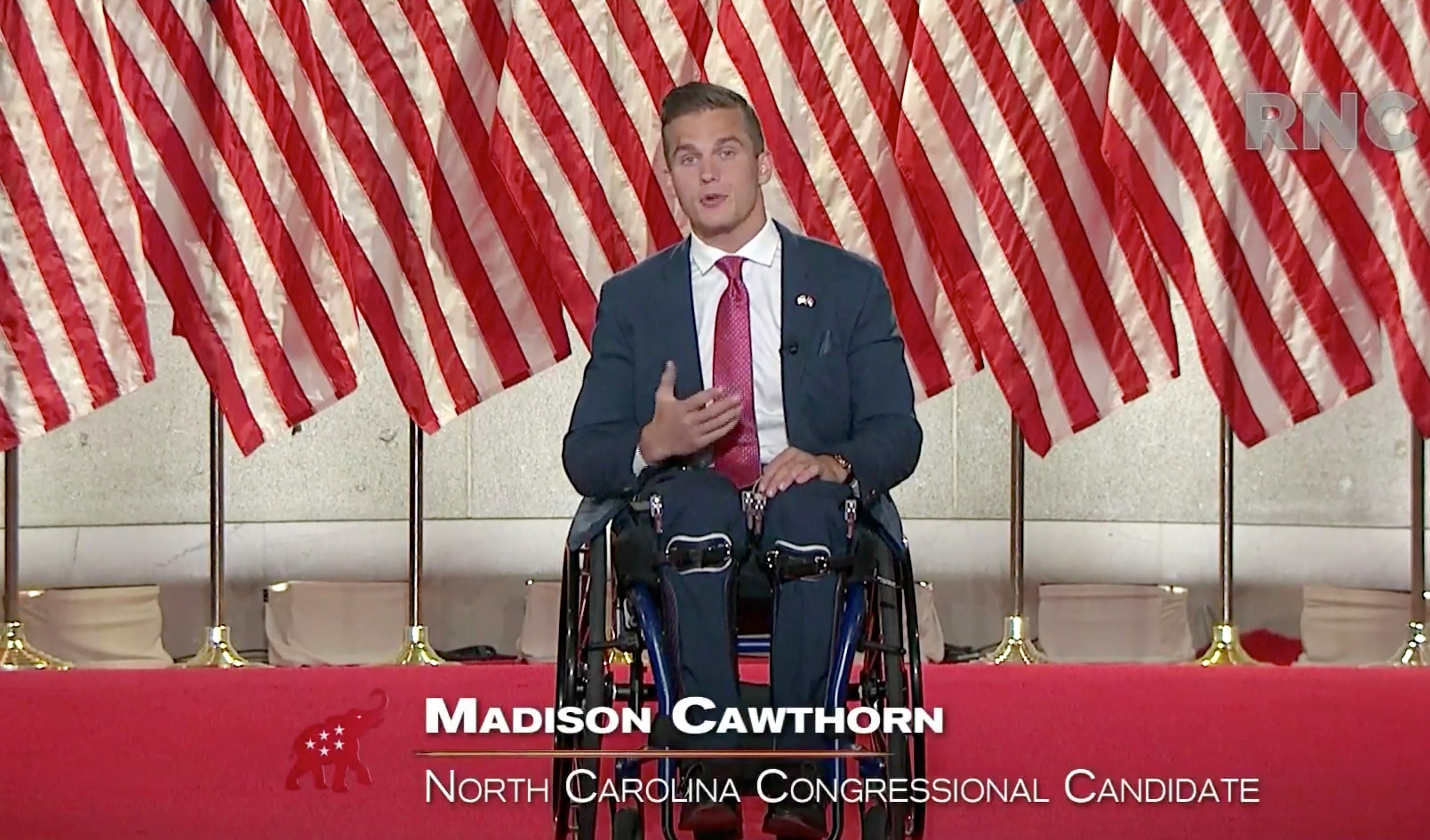 In this screenshot from a livestream of the 2020 Republican National Convention, North Carolina congressional nominee Madison Cawthorn gives a speech on Aug. 26, 2020.