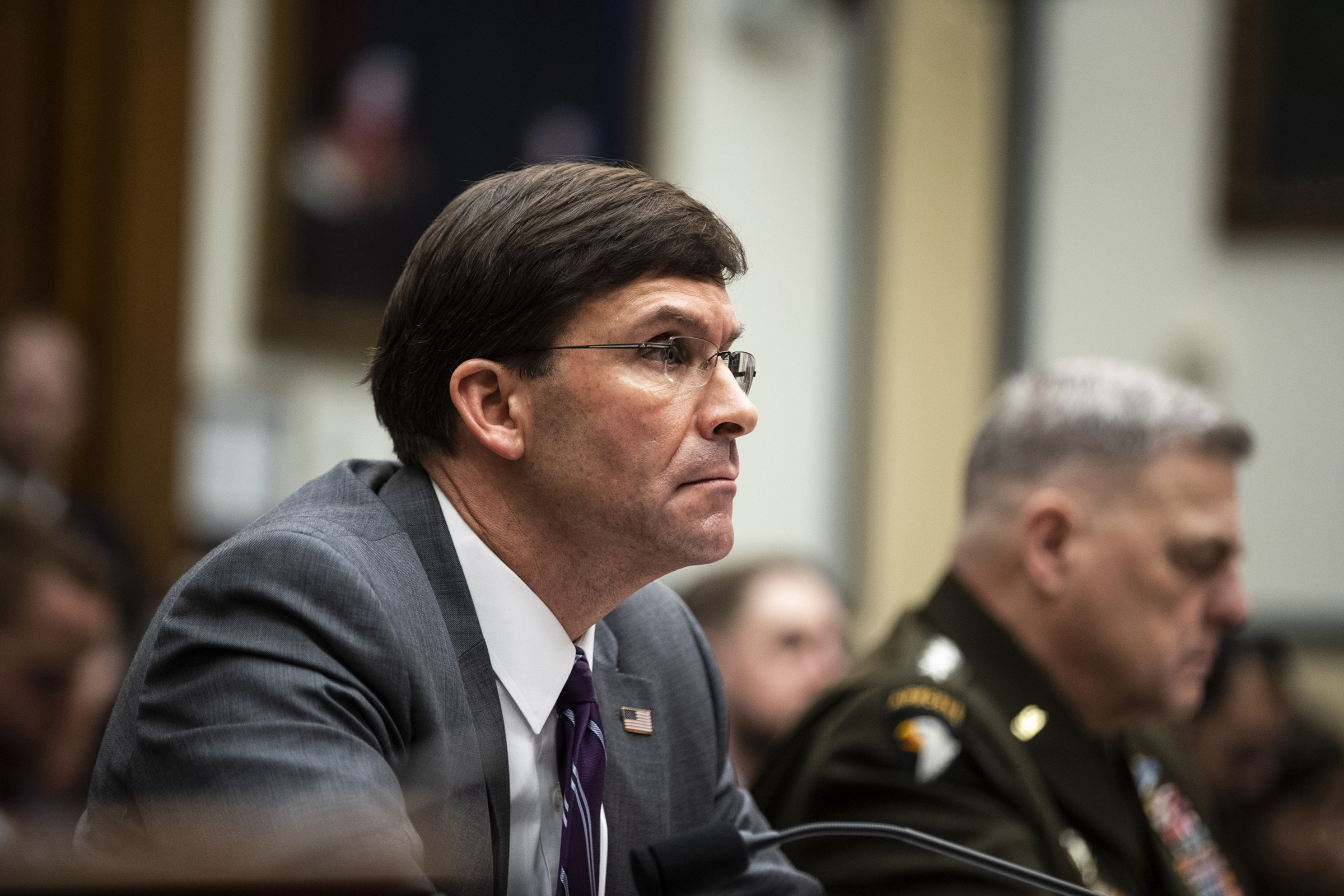 Defense Secretary Mark Esper appears before the House Armed Services Committee in Washington on Feb. 26, 2020.