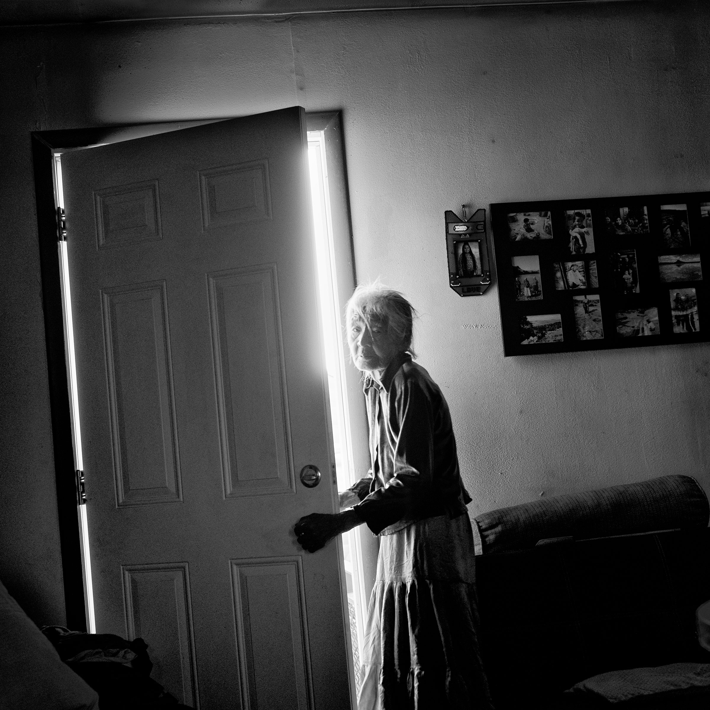 Nellie Yellowhorse, 90, at her family's ranch home in the Navajo Nation; she lives with her two elderly sisters in the house, which has no running water.  Tapped Out,  March 2 issue.