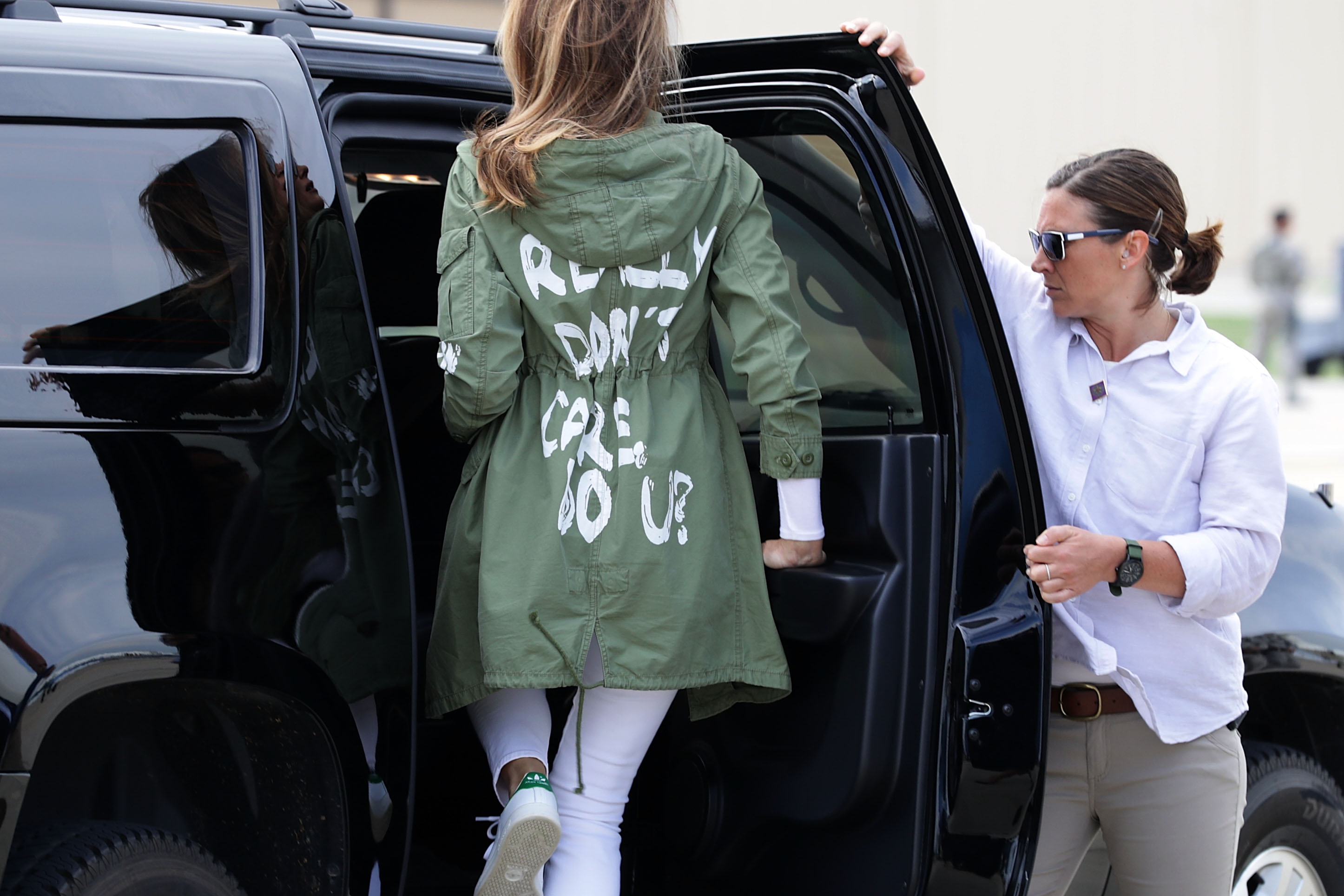 U.S. first lady Melania Trump after traveling to Texas to visit facilities that house and care for children taken from their parents at the U.S.-Mexico border on June 21, 2018 at Joint Base Andrews, Maryland.