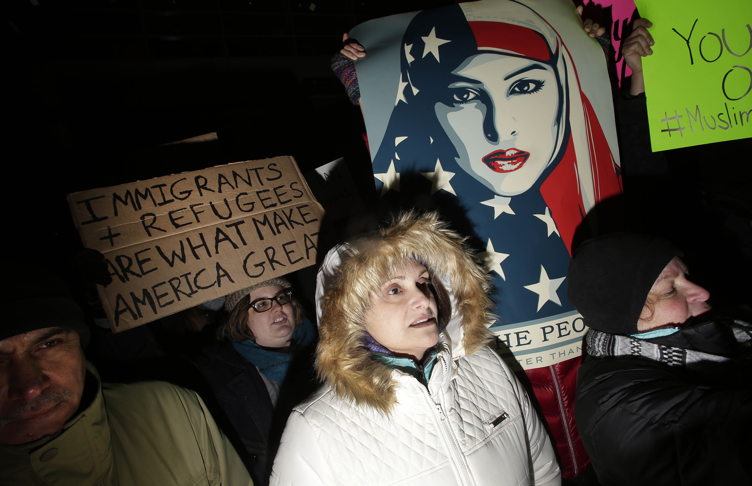 Demonstrators protest President Donald Trump's executive immigration ban at O'Hare International Airport on January 29, 2017 in Chicago, Illinois.