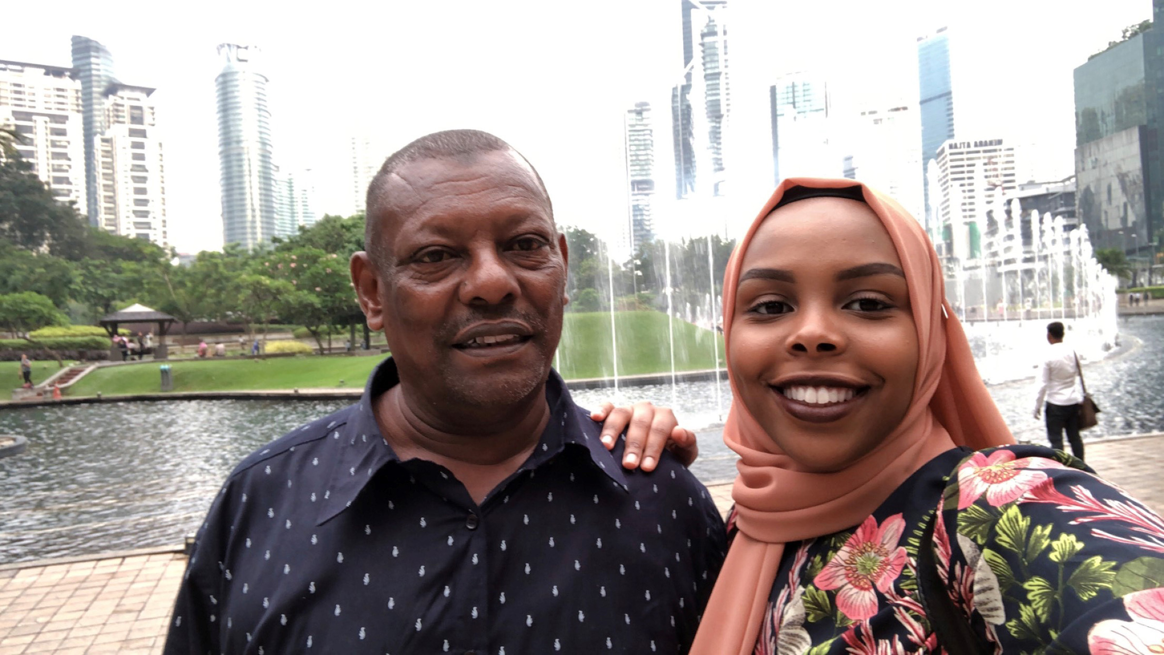 Afnan Salem visiting her father in Malaysia on July 2019. Salem's father has been unable to reunite with his family in the US because of Trump's Muslim and African ban.