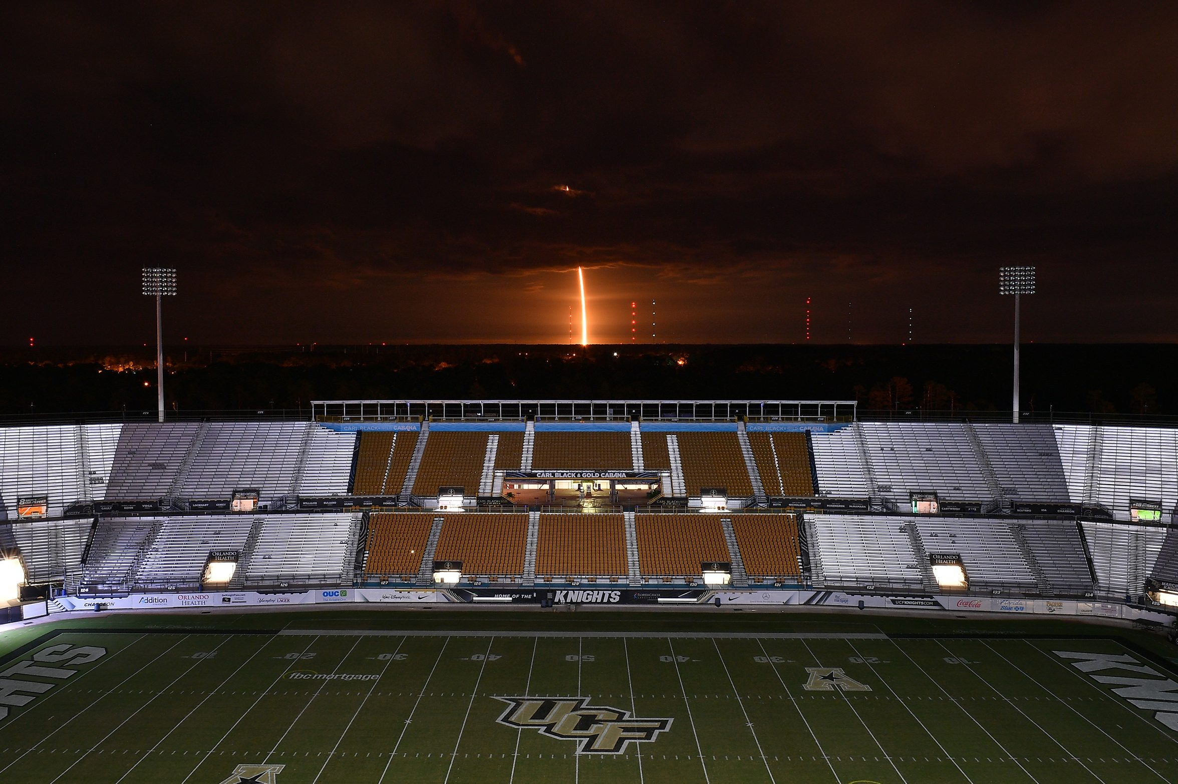 A view of the SpaceX Falcon 9 rocket launch from UCF Knight's Spectrum Stadium on Nov. 15 in Orlando, Fla.