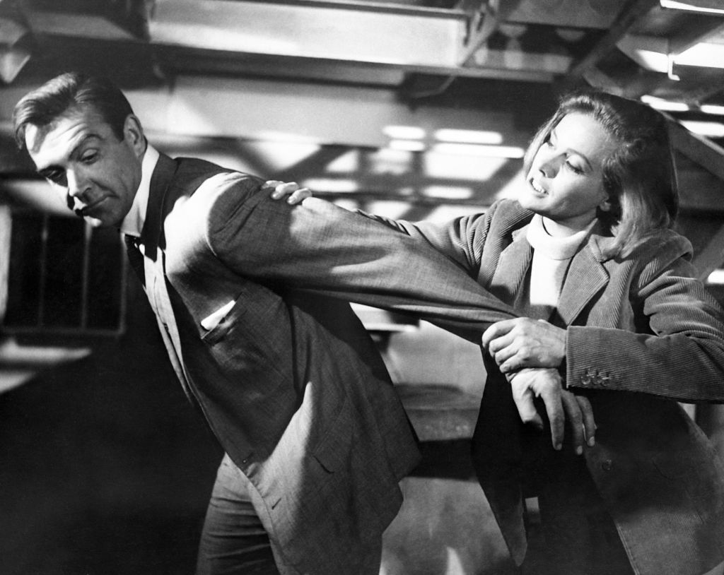 Sean Connery and Honor Blackman in a scene for Goldfinger.
