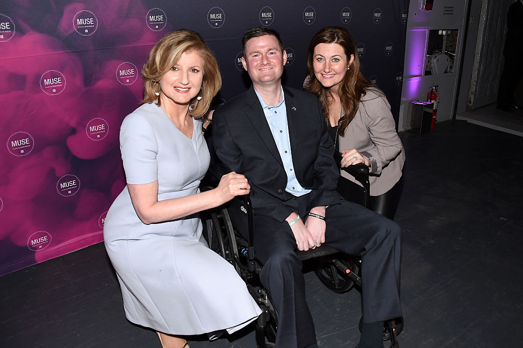 Pat Quinn, co-founder of ALS ice bucket challenge, (center) poses with Arianna Huffington (left) and Anne Quinn (right) at the Klick Health MUSE NYC on March 31, 2016 in New York City. Pat Quinn died Sunday, Nov. 22, 2020.