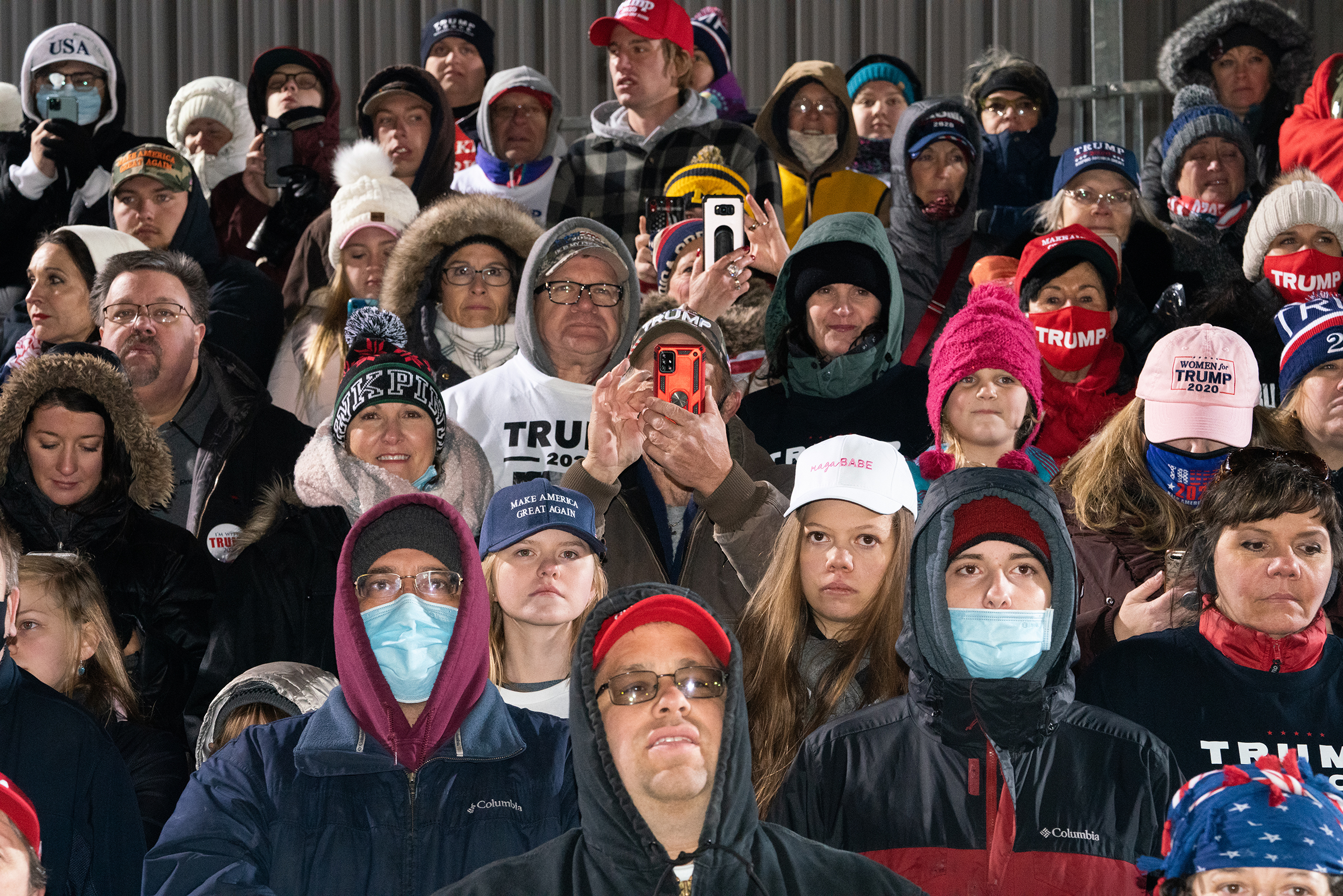 The President's supporters in Grand Rapids, Mich., ignored the chill at the final rally of his 2020 campaign.