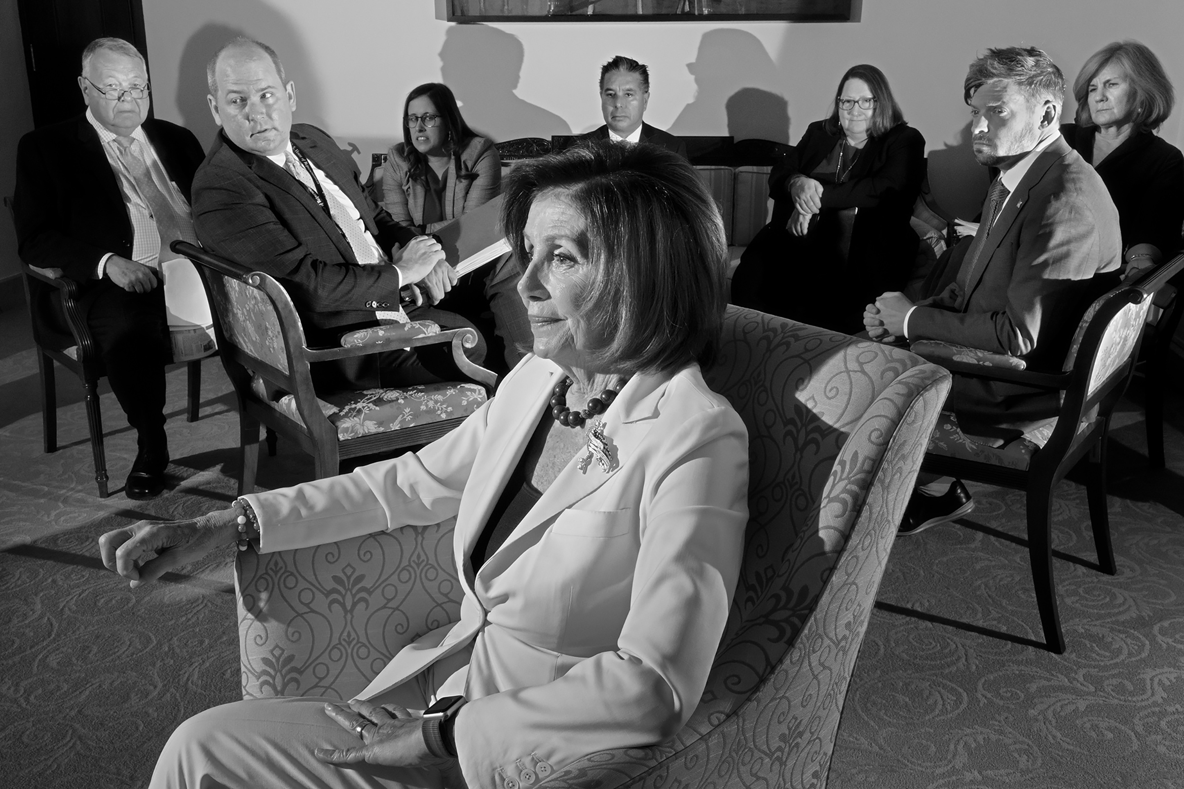 Nancy Pelosi, Speaker of the House, meets with her staff on Capitol Hill on Dec. 5, 2019.  Pelosi's Play,  Jan. 20 issue.