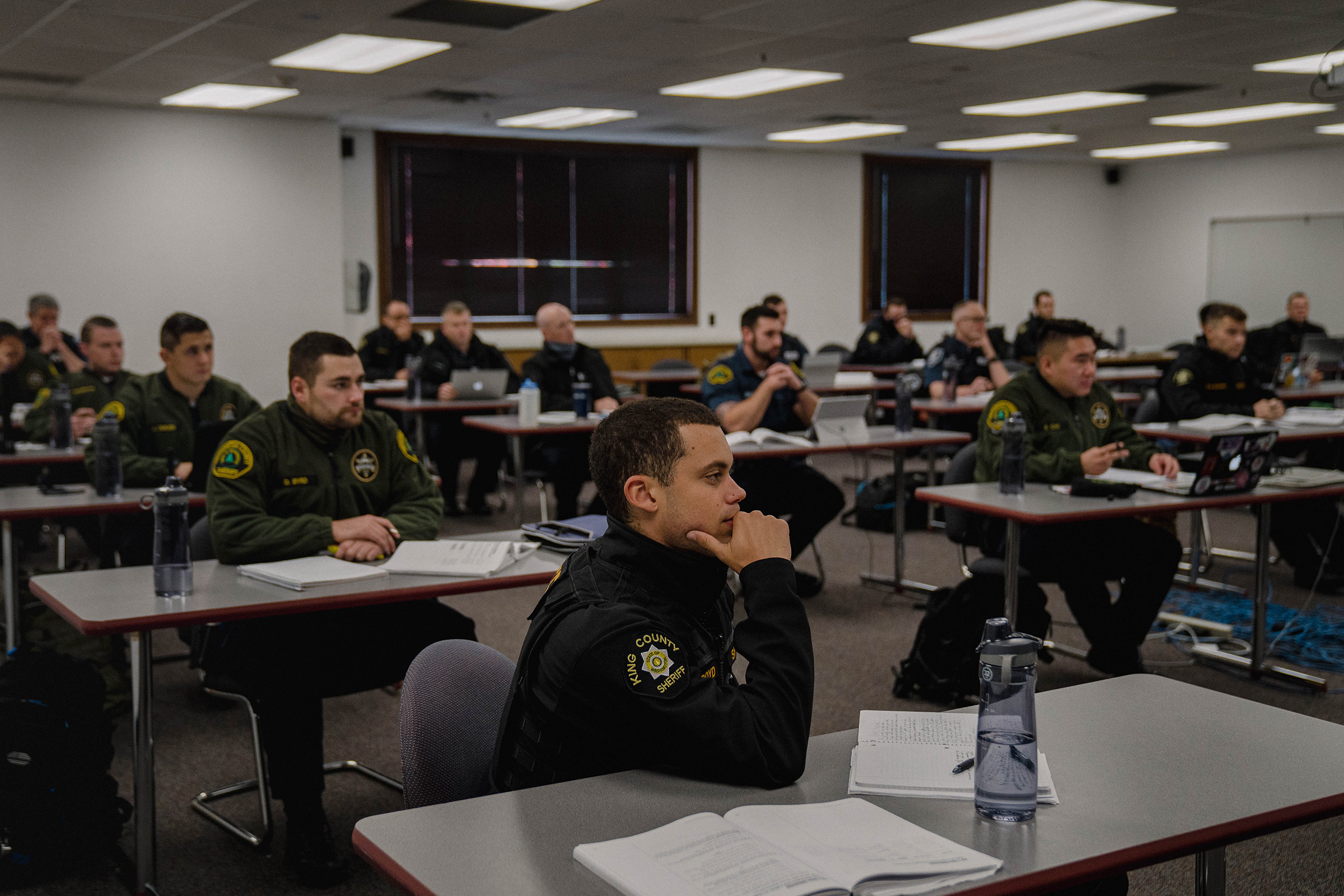 Recruits attend a criminal law class.