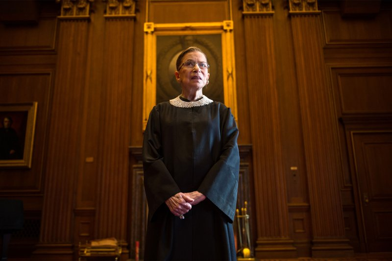 Ginsburg marks her 20th anniversary on the bench in the East Room at the U.S. Supreme Court on August 30, 2013.