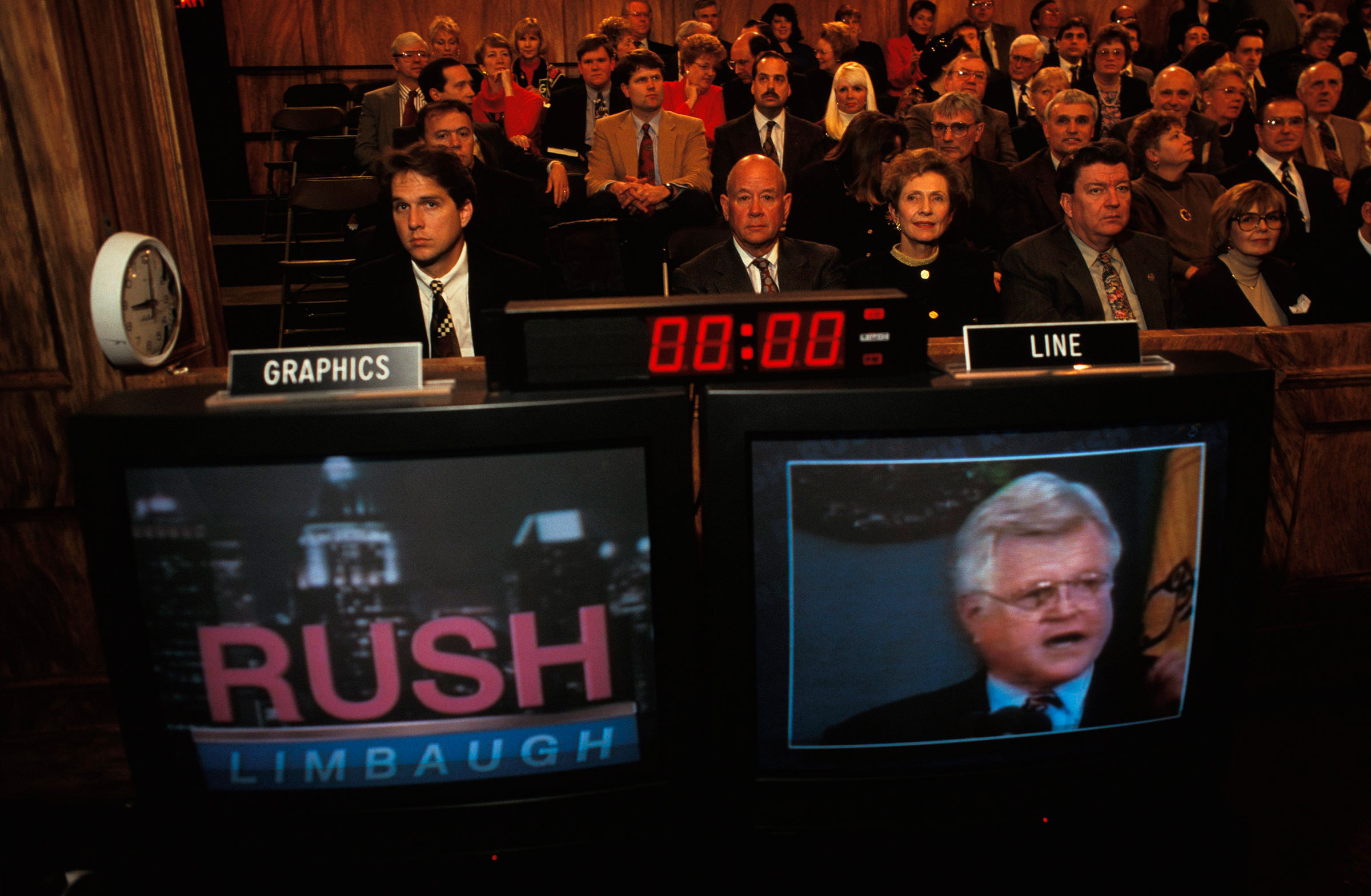 A scene from the set of Rush Limbaugh's show, 1995.