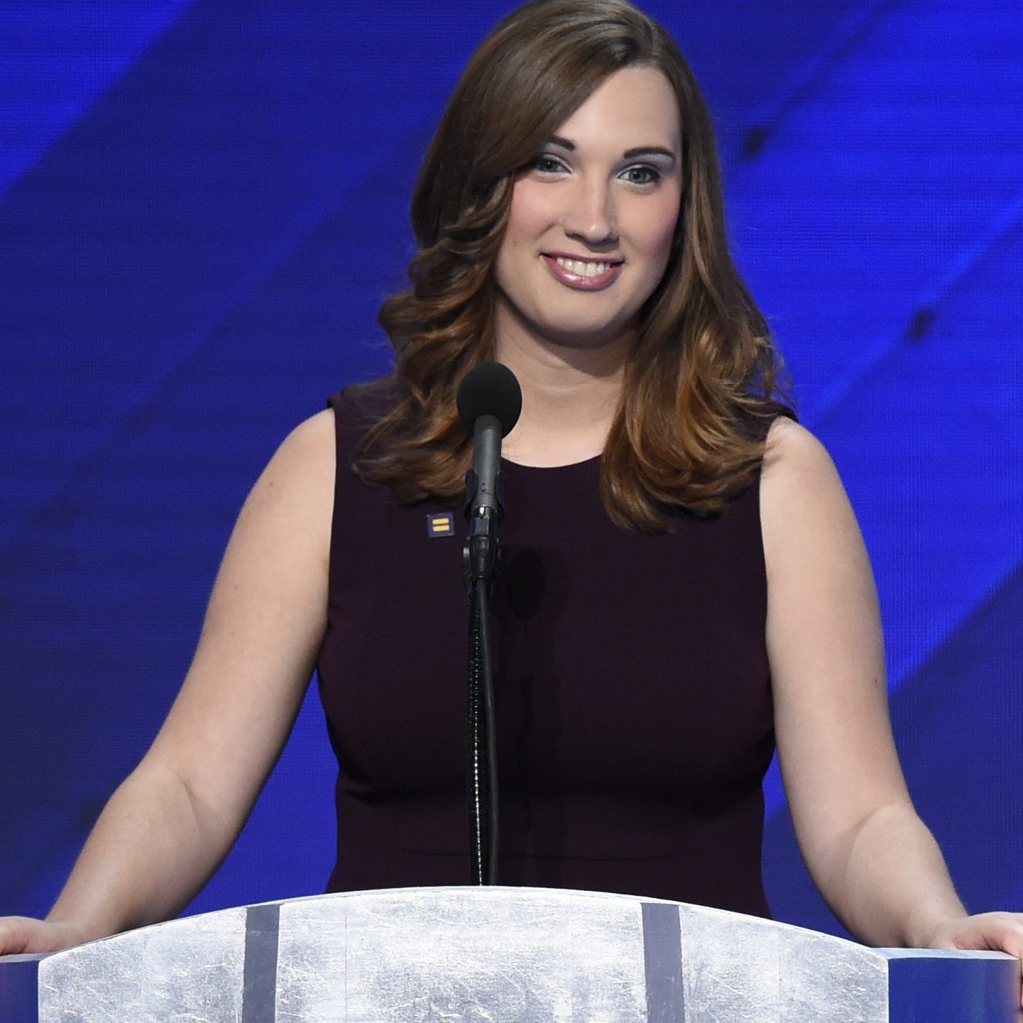 Sarah McBride addresses delegates on the fourth day of the Democratic National Convention on July 28, 2016 in Philadelphia, Pennsylvania.