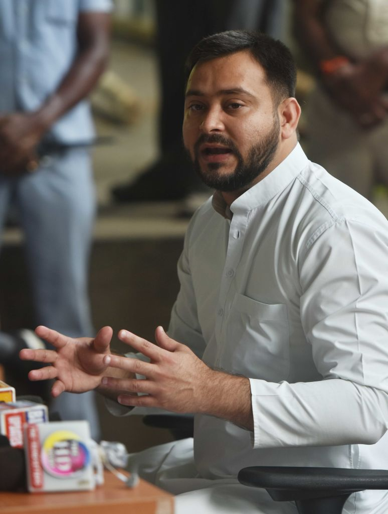 RJD leader Tejashwi Yadav addressing a press conference at the RJD party office in Patna, India, on June 15, 2020.