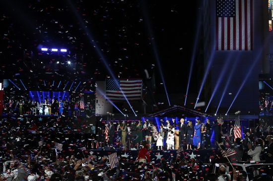 President-elect Biden, Vice President–elect Harris and their families celebrate victory on Nov.7 in Wilmington, Del.