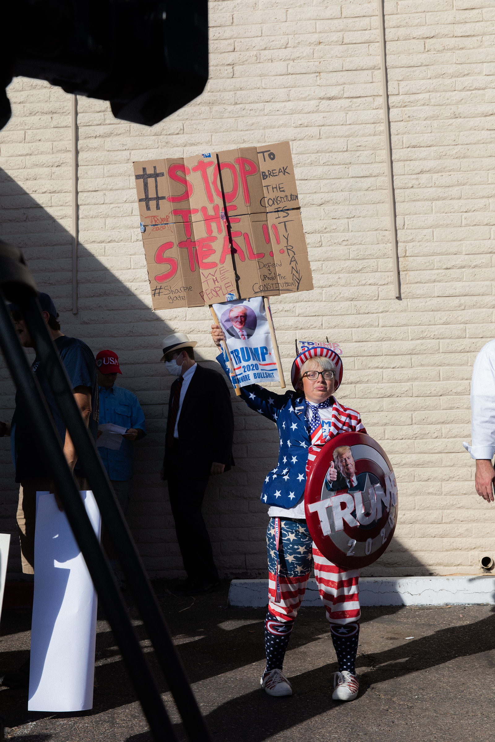 Trump supporters gathered outside the Maricopa County Republican Party office in Phoenix on Nov. 5