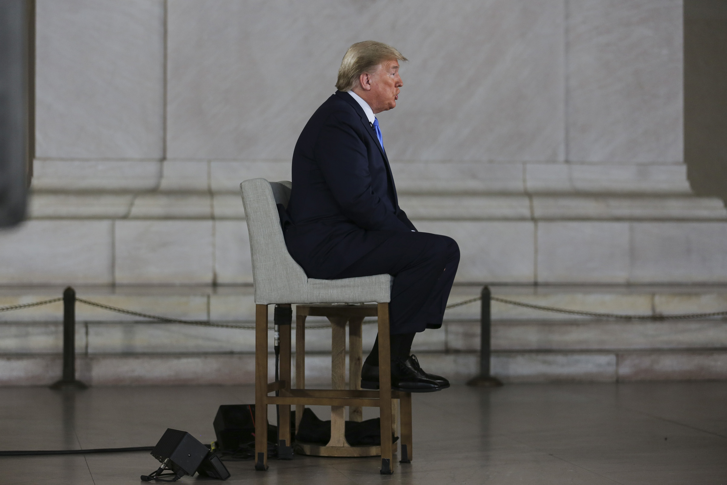 U.S. President Donald Trump speaks during a Fox News town hall at the Lincoln Memorial in Washington, D.C., on May 3, 2020.