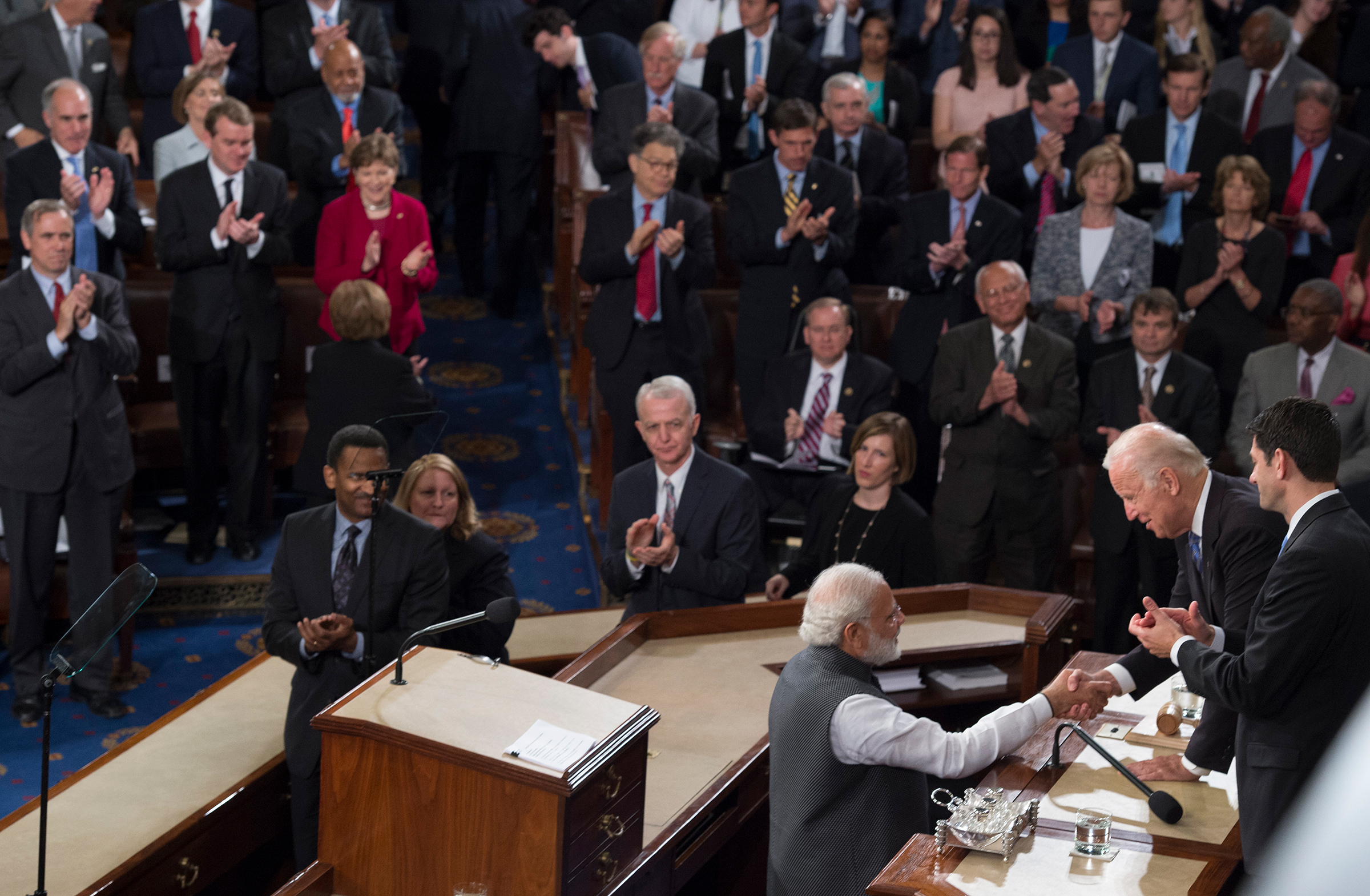 Indian Prime Minister Narendra Modi shakes Vice President Joe Biden's hand after addressing a joint session of Congress on Capitol Hill on June 8, 2016.