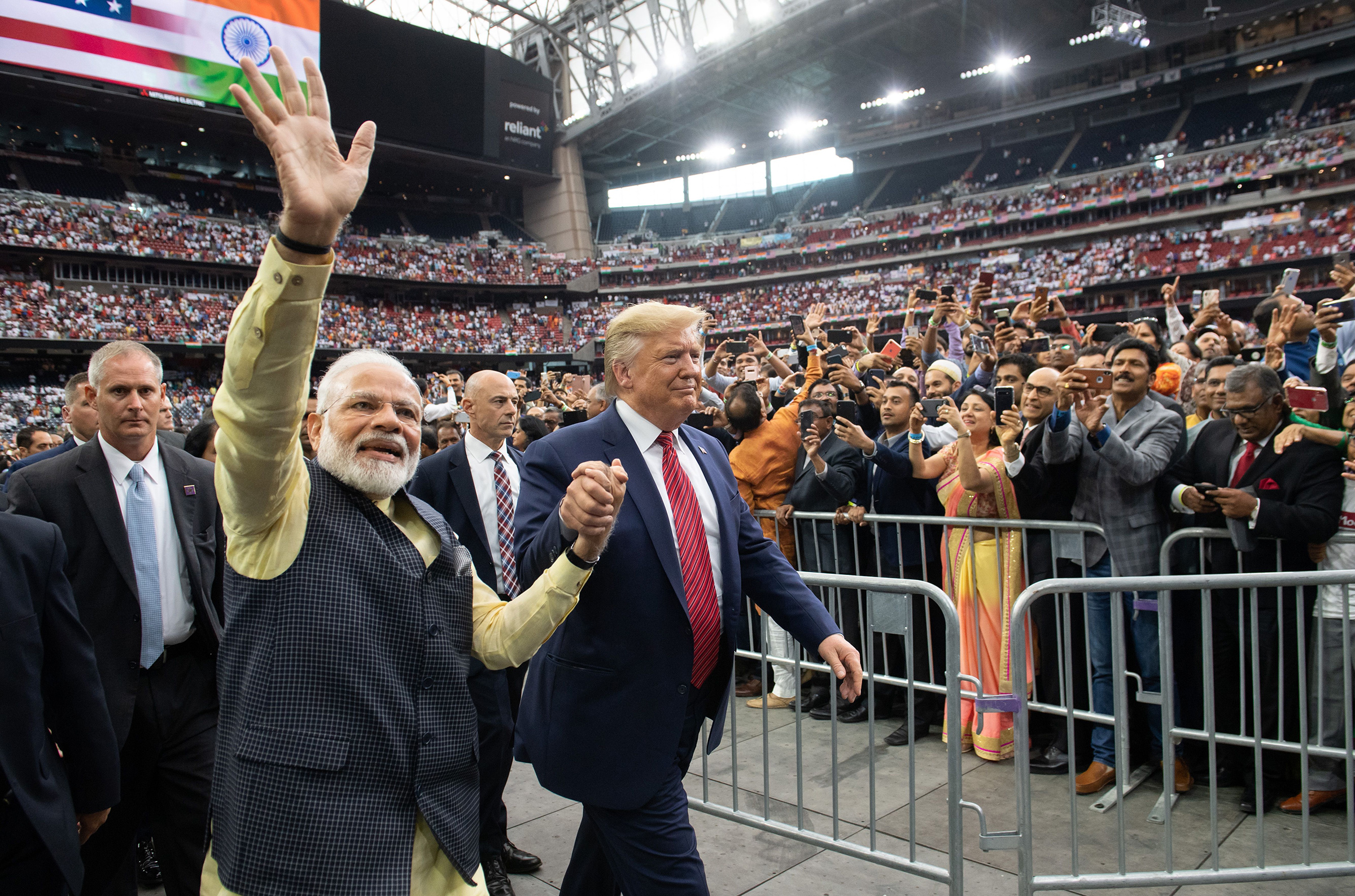 Trump and Modi attend  Howdy, Modi!  at NRG Stadium in Houston on Sept. 22, 2019. Tens of thousands of Indian-Americans converged for an unusual joint rally, a symbol of the bond between the two leaders.
