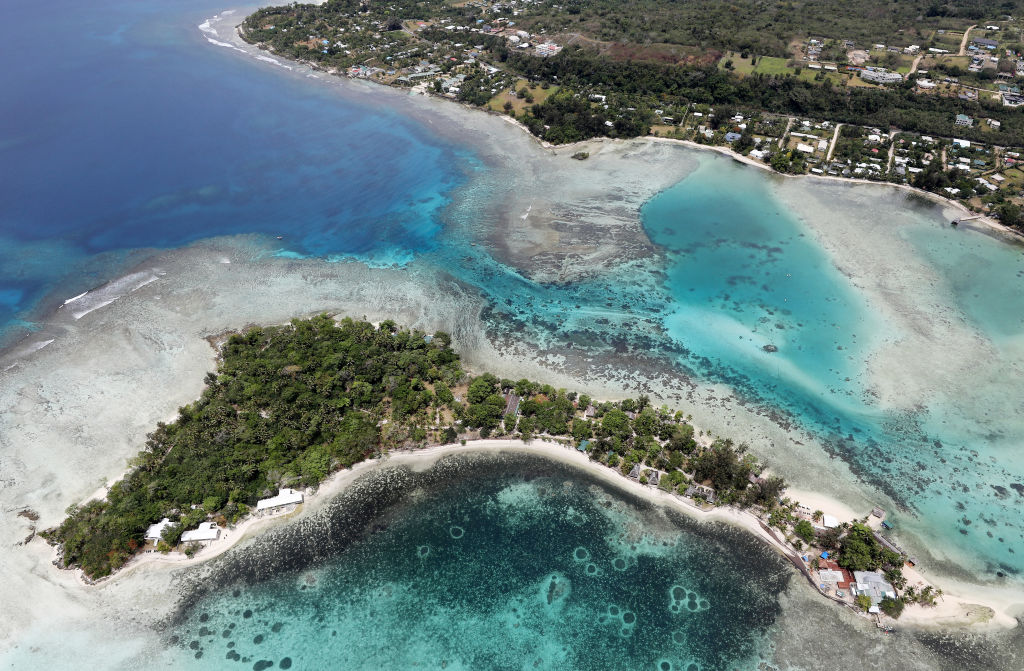 An aerial view of Erakor island and the coastline of Port Vila in Port Vila, Vanuatu on Dec. 07, 2019.