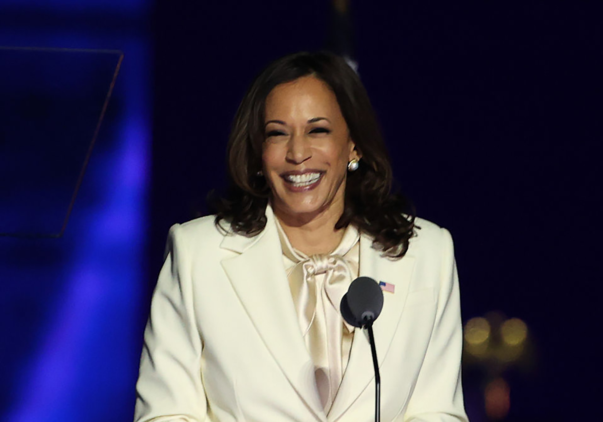 Vice President-elect Kamala Harris takes the stage at the Chase Center Nov. 7, 2020 in Wilmington, Del.