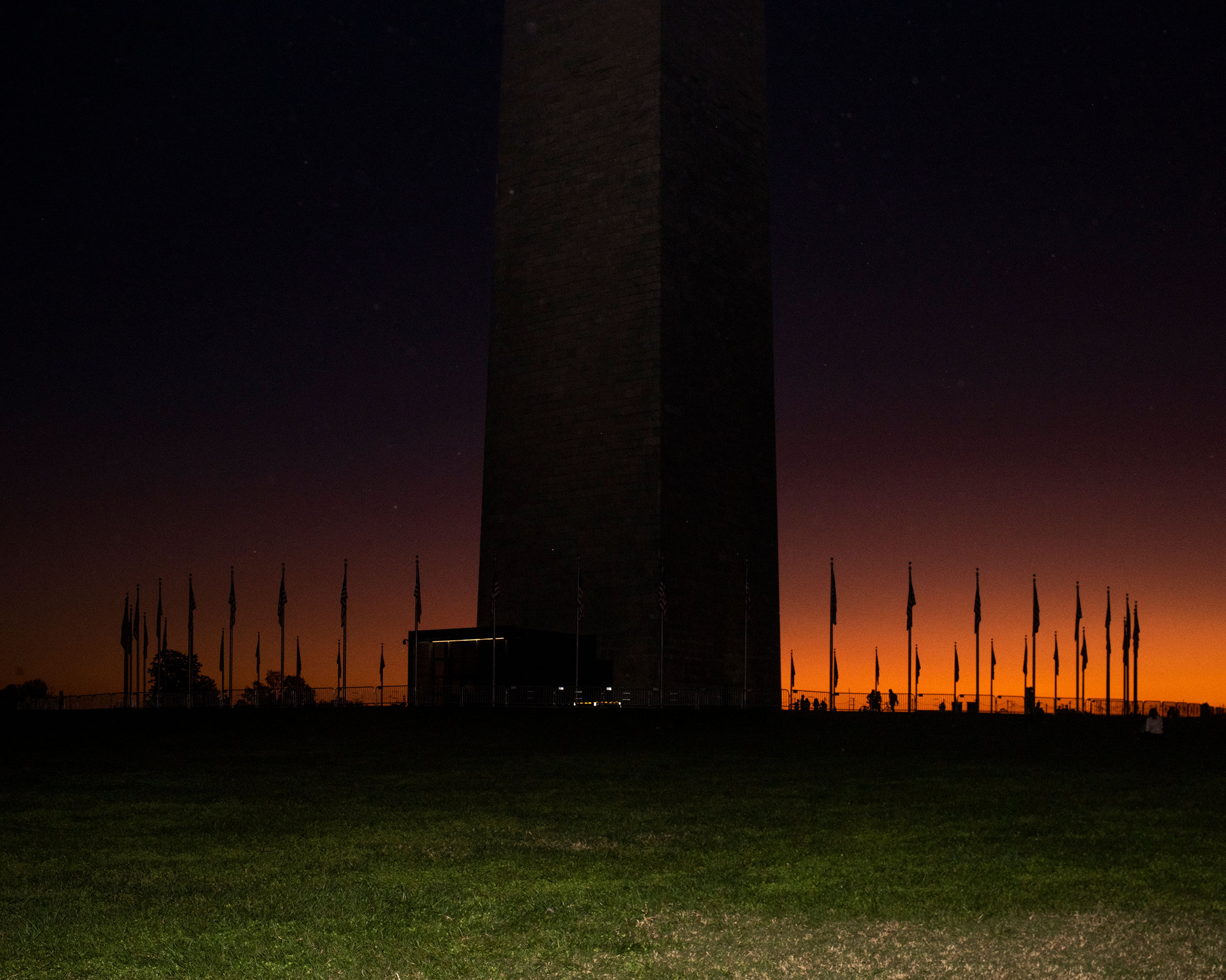 The sun sets over the Washington Monument on Nov. 7, the night Biden addressed the nation as President-elect