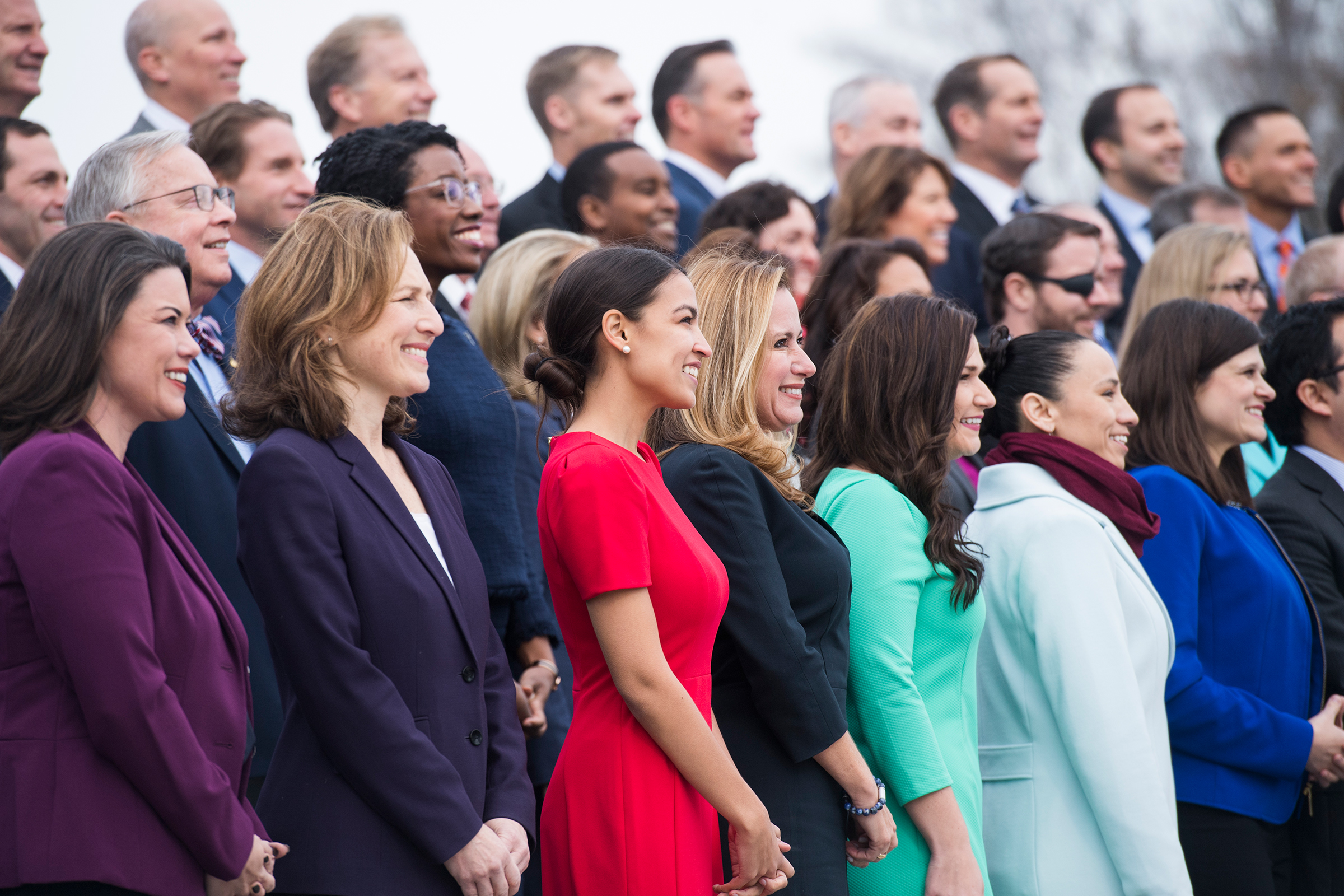 Members-elect including Alexandria Ocasio-Cortez, D-N.Y., pose for the freshman class photo of the 116th Congress on the East Front of the Capitol on Nov. 14, 2018