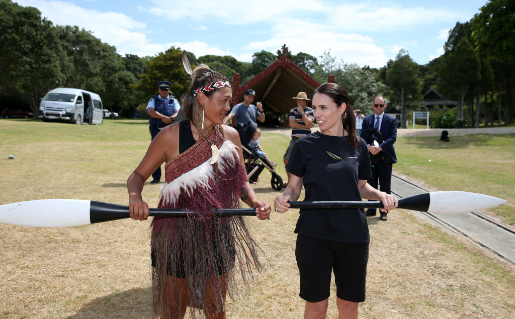 New Zealand Prime Minister Jacinda Ardern (right) learned how to row before joining the crew at Te Whanau Moana waka made for women to row by Uncle Hector Busby on February 5, 2020 in Waitangi, New Zealand.