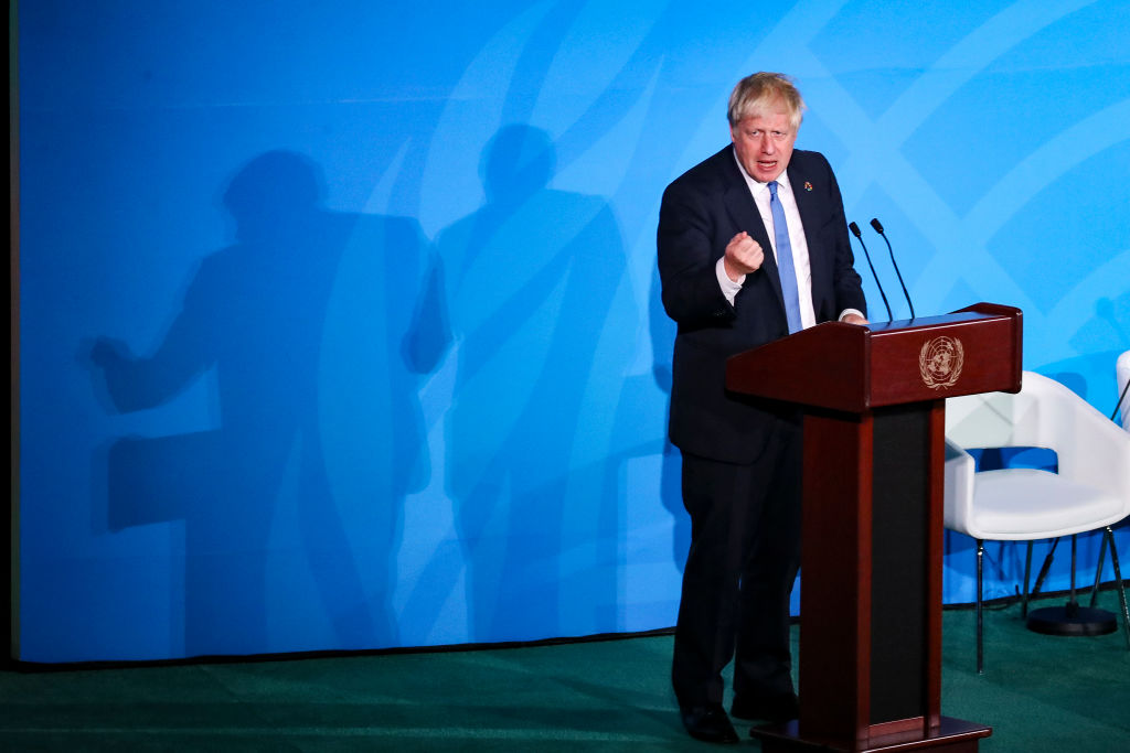 British Prime Minister Boris Johnson speaks at the United Nations Climate Action Summit at UN headquarters in in New York on September 23, 2019 in New York City.