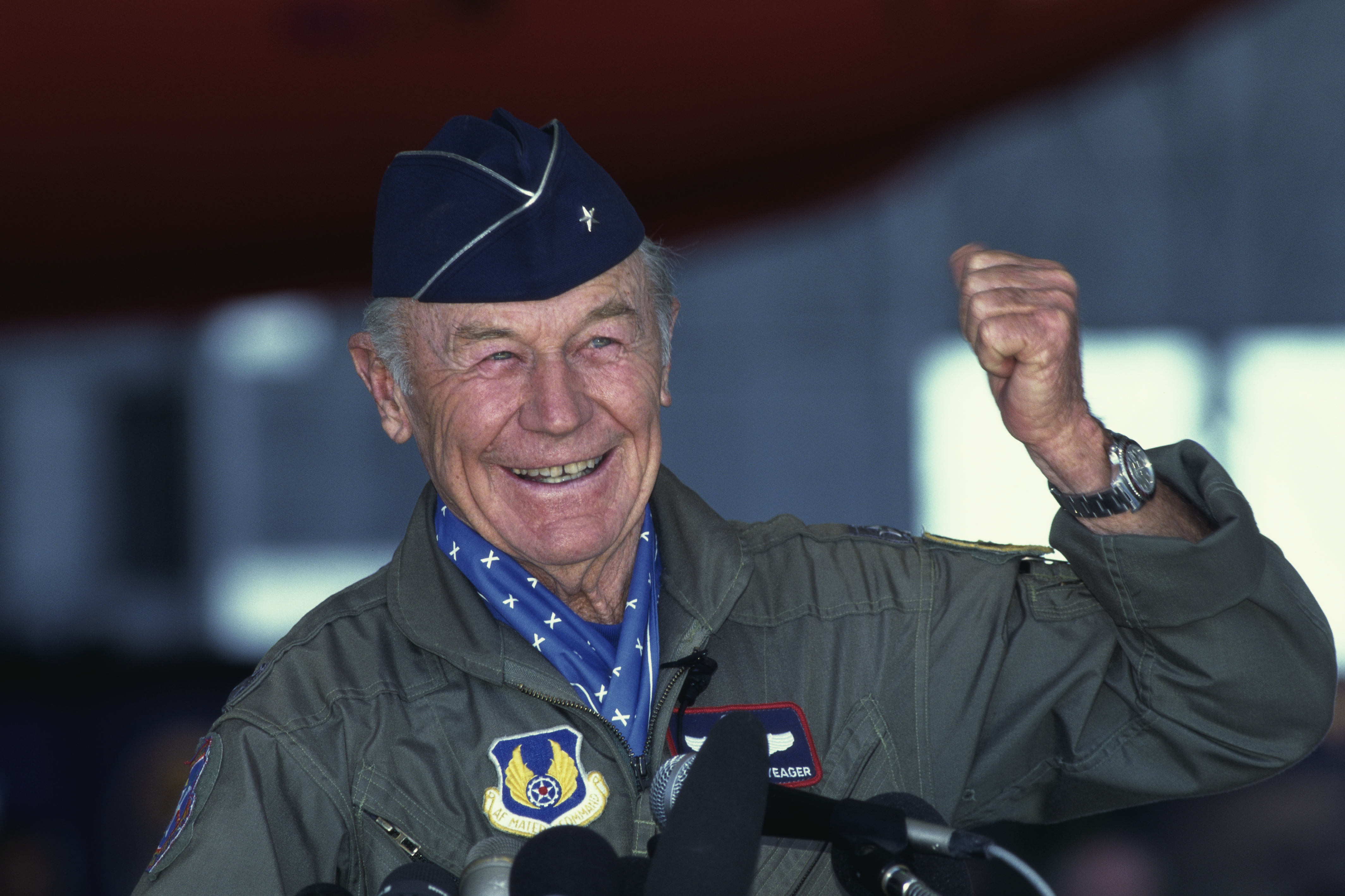Chuck Yeager during a 1997 press conference at Edwards Air Force Base during the 50th anniversary celebration of his October 14, 1947 Bell X-1 flight, in which he became the first man to break the sound barrier.