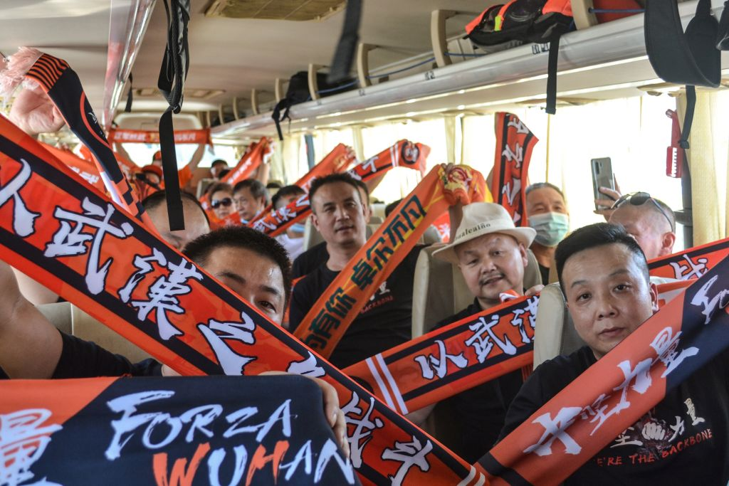 This photo taken on September 5, 2020 shows supporters of Wuhan Zall on a bus in Suzhou, in China's eastern Jiangsu province.