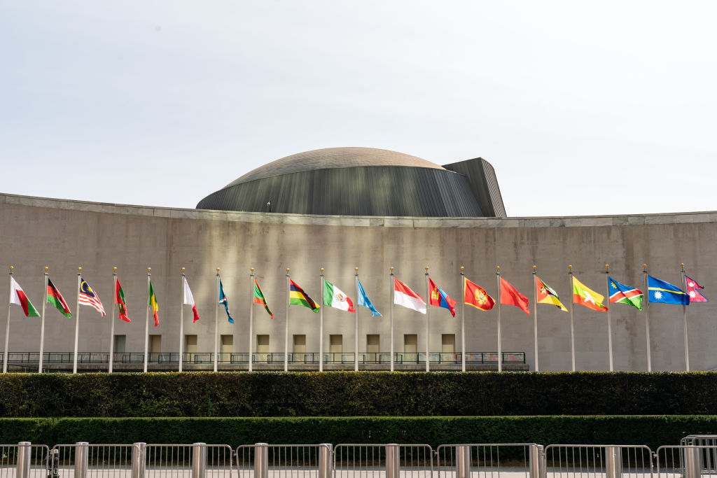 International flags are displayed at the United Nations (UN) headquarters in New York, U.S., on Tuesday, Sept. 22. 2020.