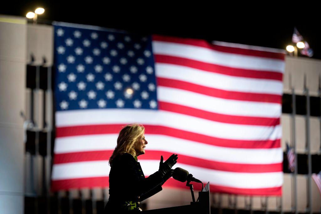 Jill Biden speaks at a Drive-In Rally in Pittsburgh, Pennsylvania, on November 2, 2020.