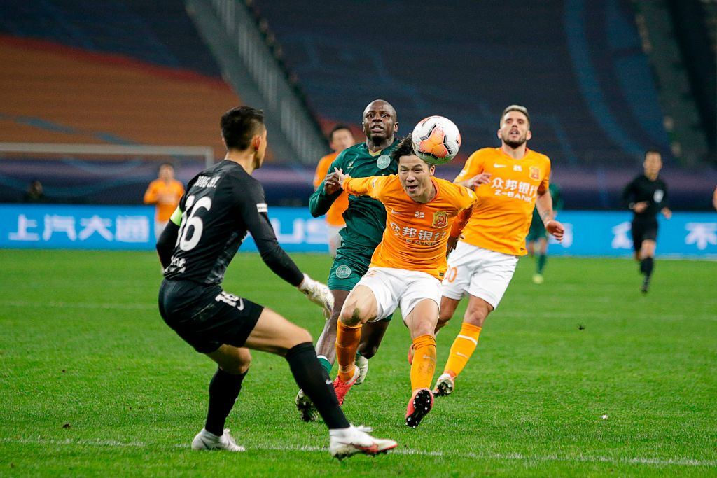 Wuhan Zall's Ming Tian kicks the ball during the Chinese Super League football (CSL) promotion/relegation play-off qualification match between Wuhan Zall and Zhejiang Greentown in Suzhou in China's eastern Jiangsu province on November 22, 2020.