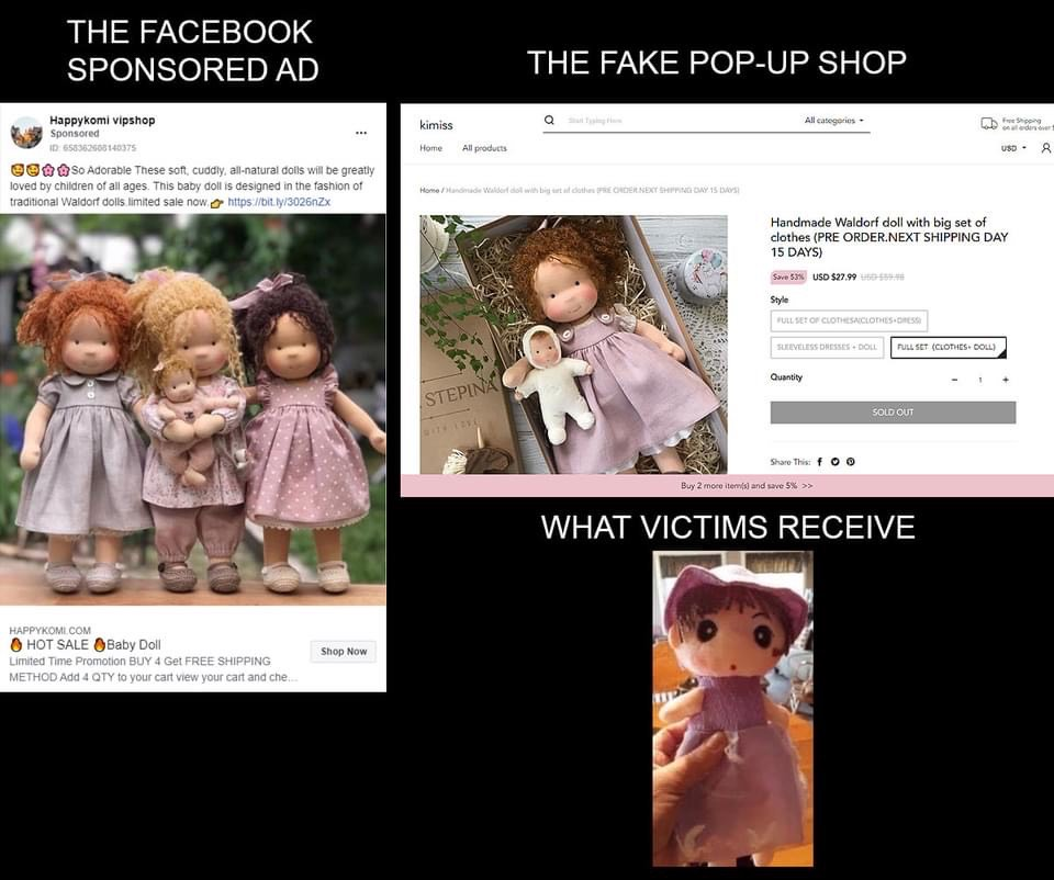 Photos of high-quality handcrafted are being advertised on Facebook, left. The consumer then receives a dollar store doll, bottom right.