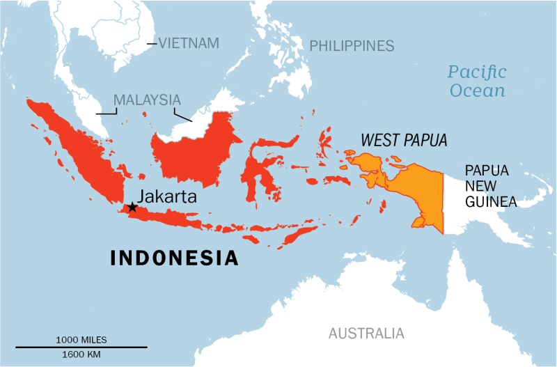 West Papua—which sits on the western half of the island of New Guinea, about 1,900 miles east of the Indonesian capital Jakarta—has seen decades of unrest