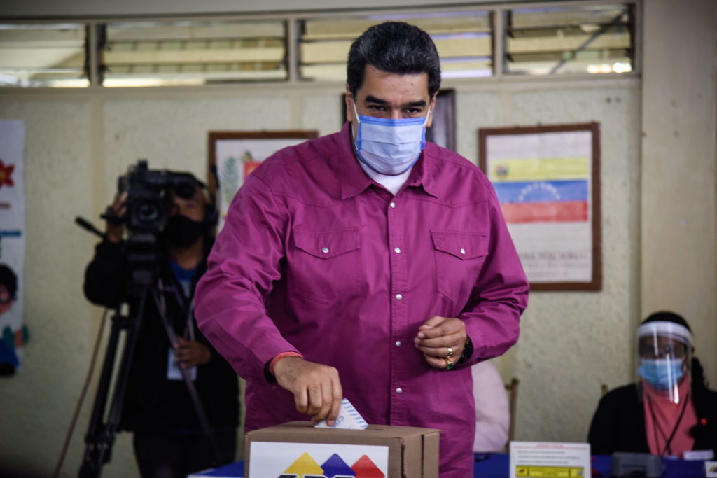 Nicolas Maduro enters to vote at Ecological School Simon Rodriguez on December 6, 2020 in Caracas, Venezuela.