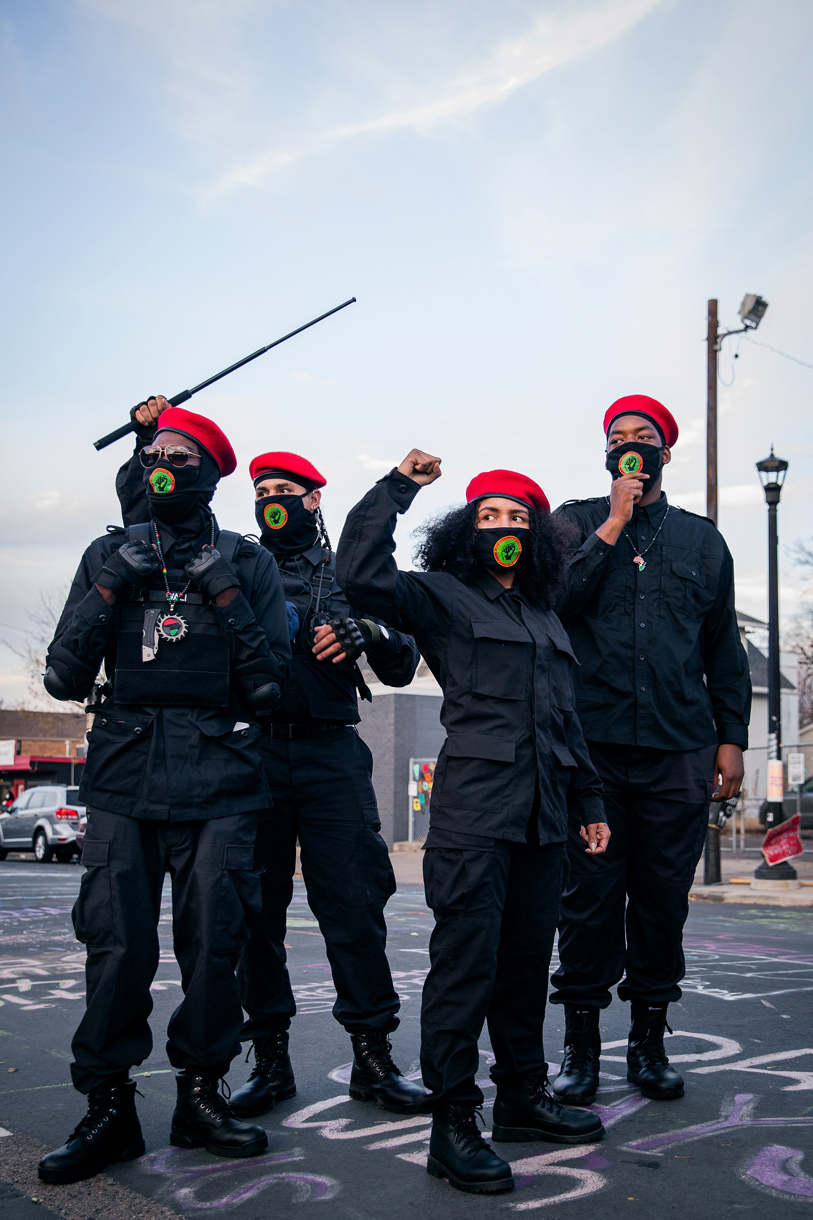Members of The New Black Panther Party make an appearance at George Floyd Square in South Minneapolis, Nov. 7