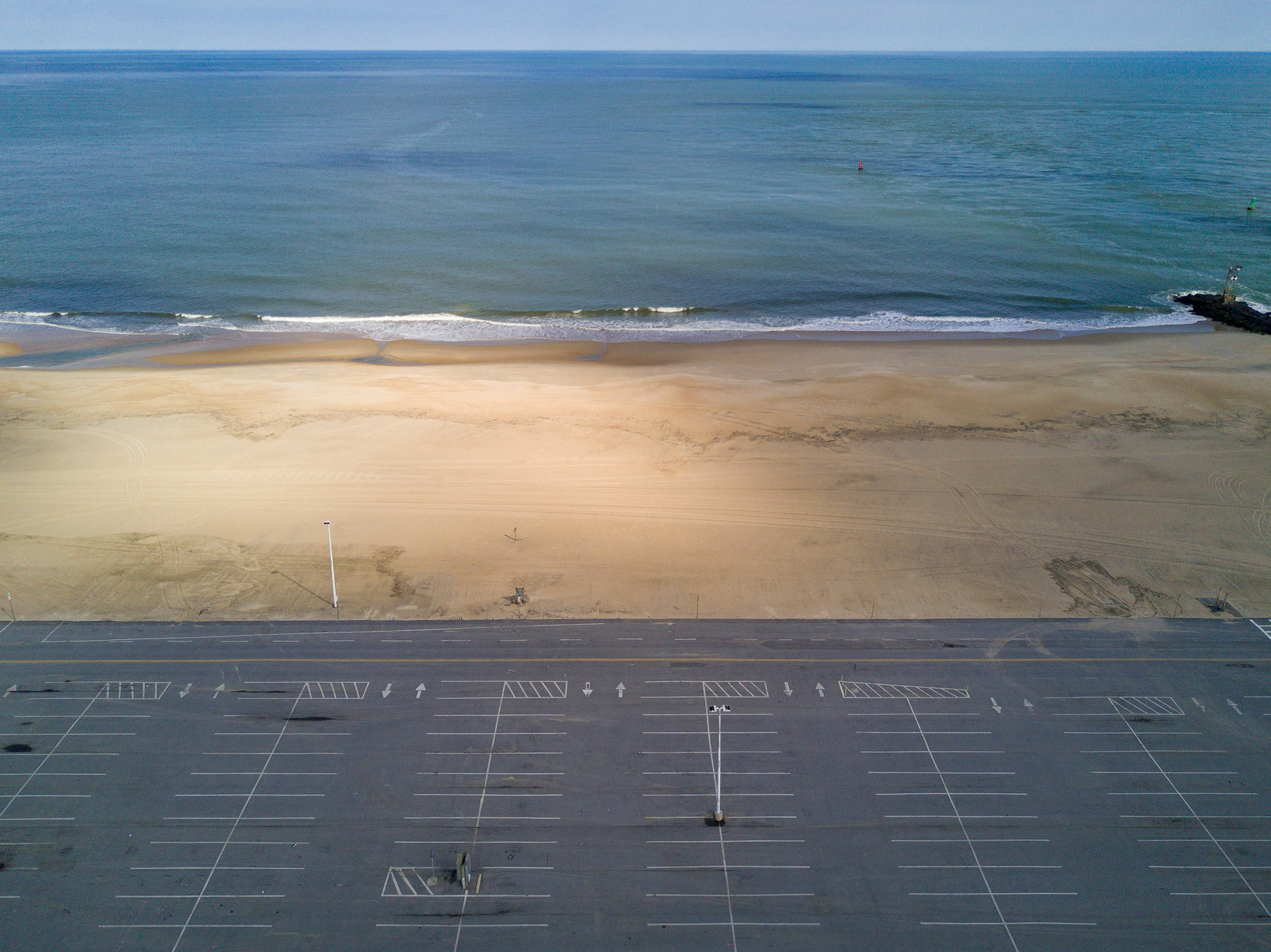 An empty parking lot in the beach town of Ocean City, Md., on April 16.