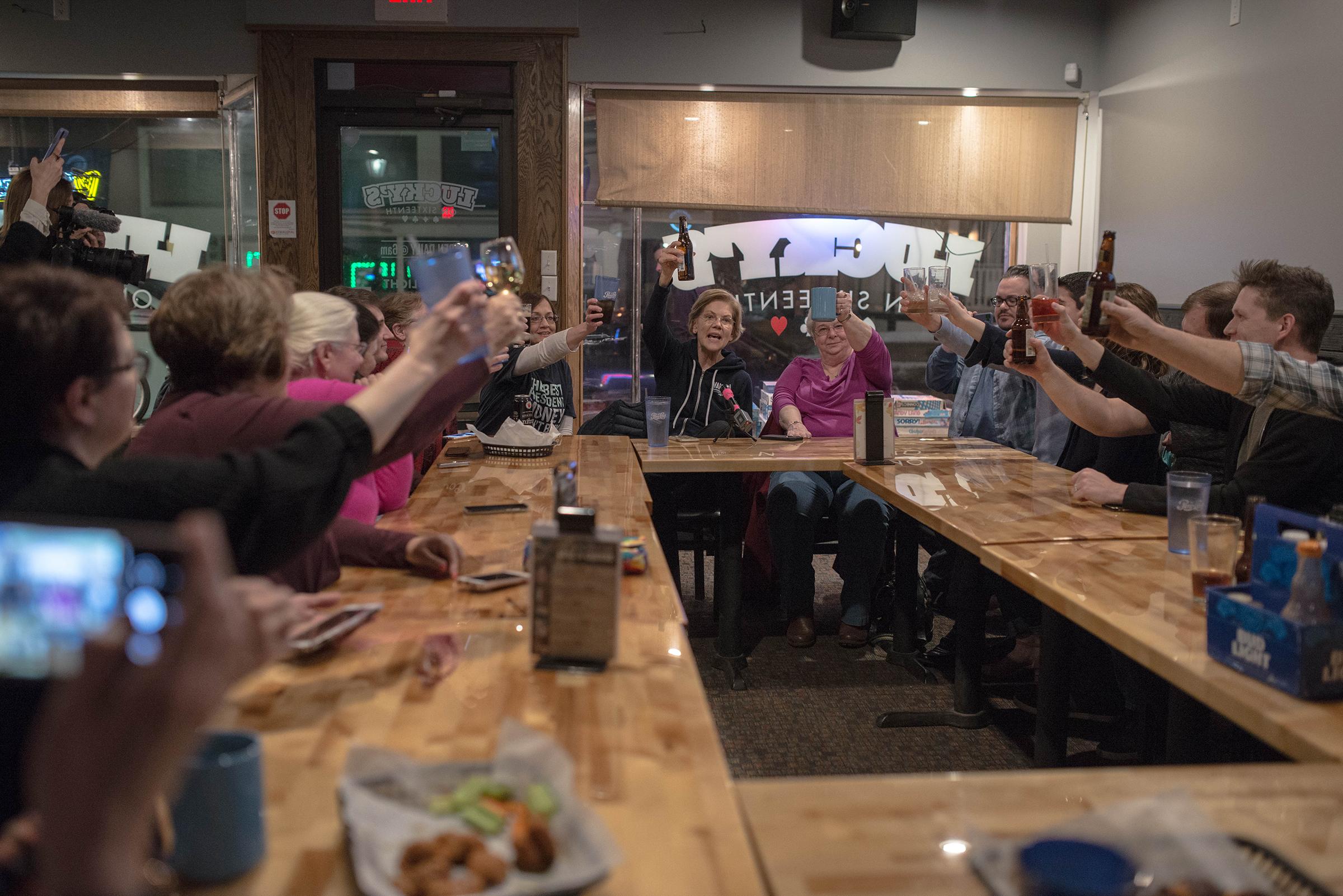 Sen. Elizabeth Warren holds a meet-and-greet at a pub in Cedar Rapids, Iowa, on Jan. 26.